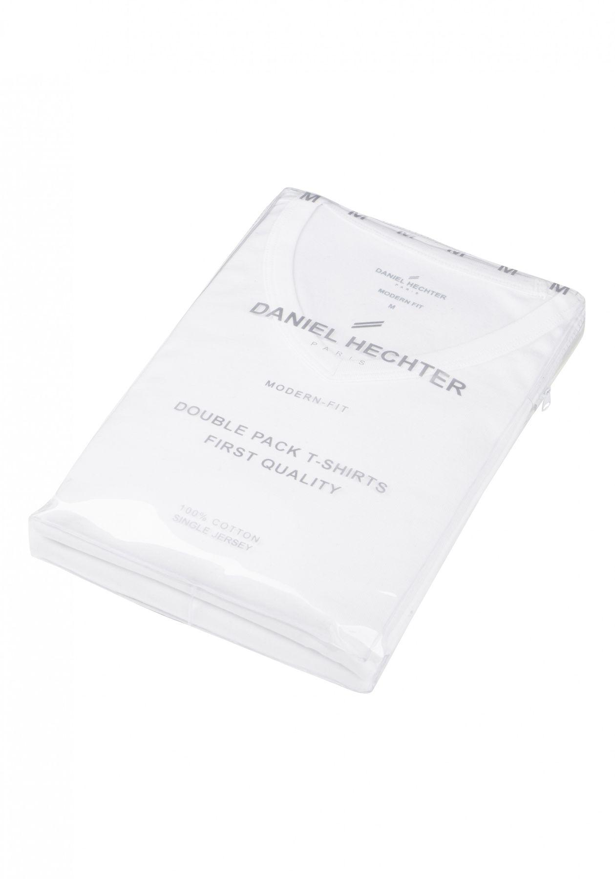 Daniel Hechter - Modern Fit -  Doppelpack Herren Kurzarm T-Shirt in weiß, S-3XL (474 10289) – Bild 3