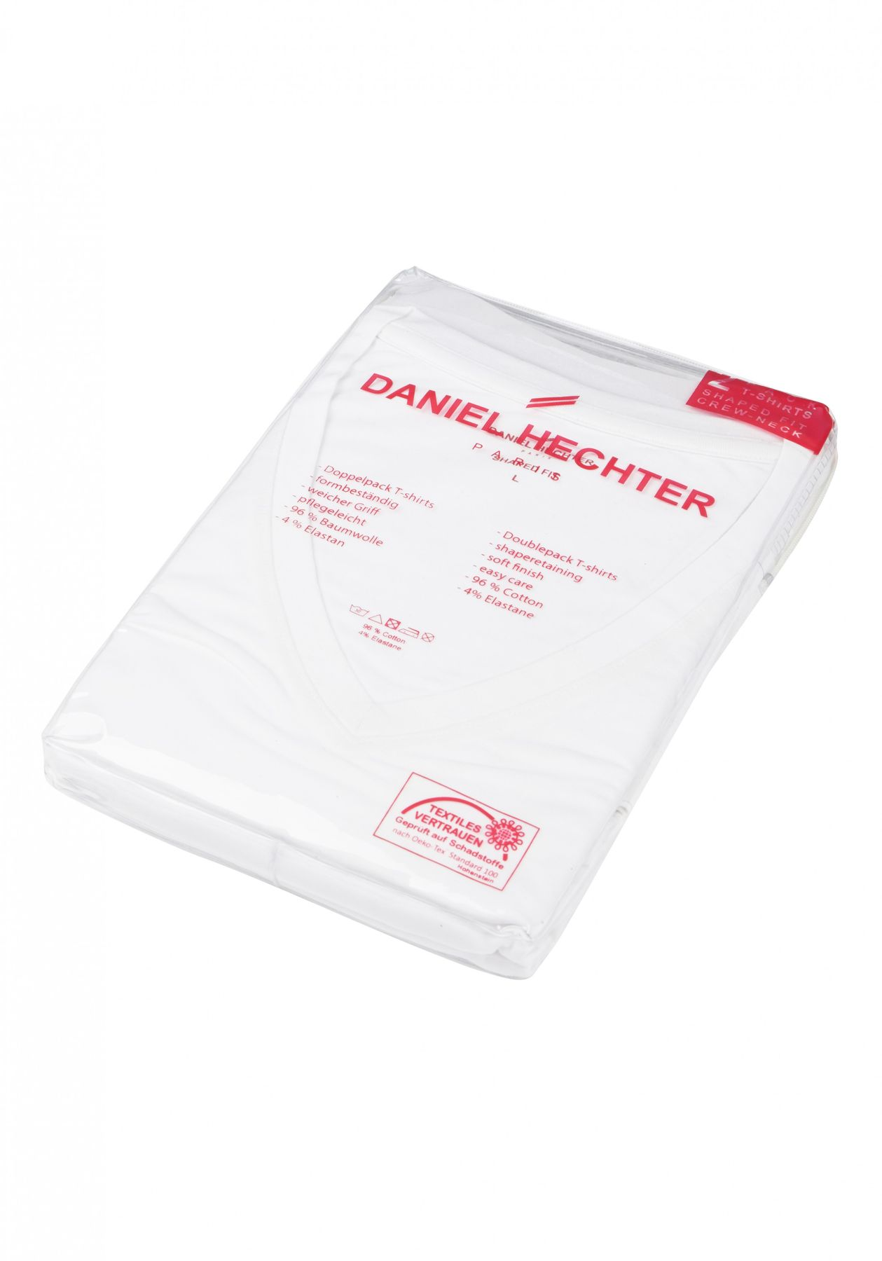 Daniel Hechter - Shaped Fit -  Doppelpack Herren Kurzarm T-Shirt in weiß, S-3XL (470 10281) – Bild 3