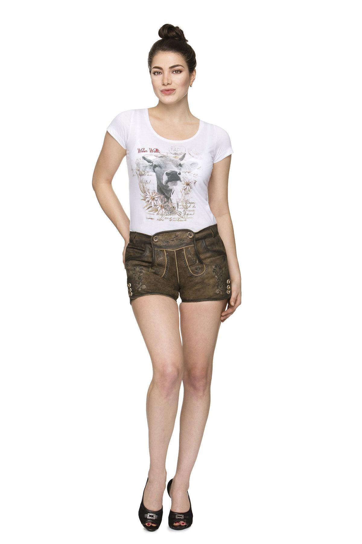 Stockerpoint - Damen Trachten Lederhose kurz, Rosy – Bild 2