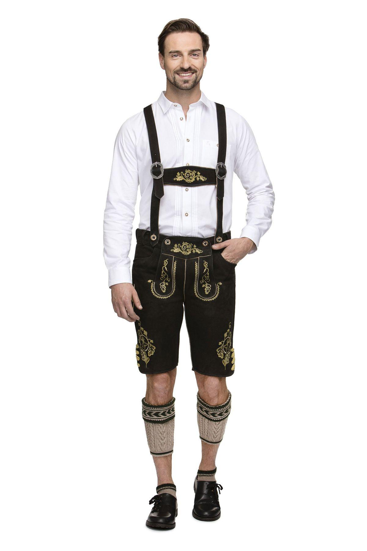 Stockerpoint - Herren Trachten Lederhose mit Träger in versch. Farben, Rupert – Bild 4