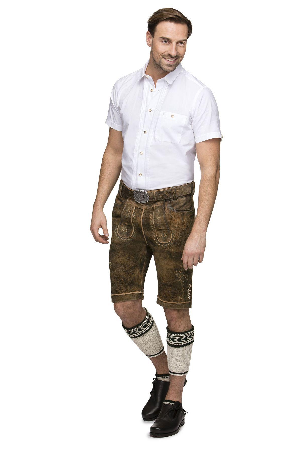 Stockerpoint - Herren Trachten Lederhose mit Gürtel in Braun antik, Sepp – Bild 3