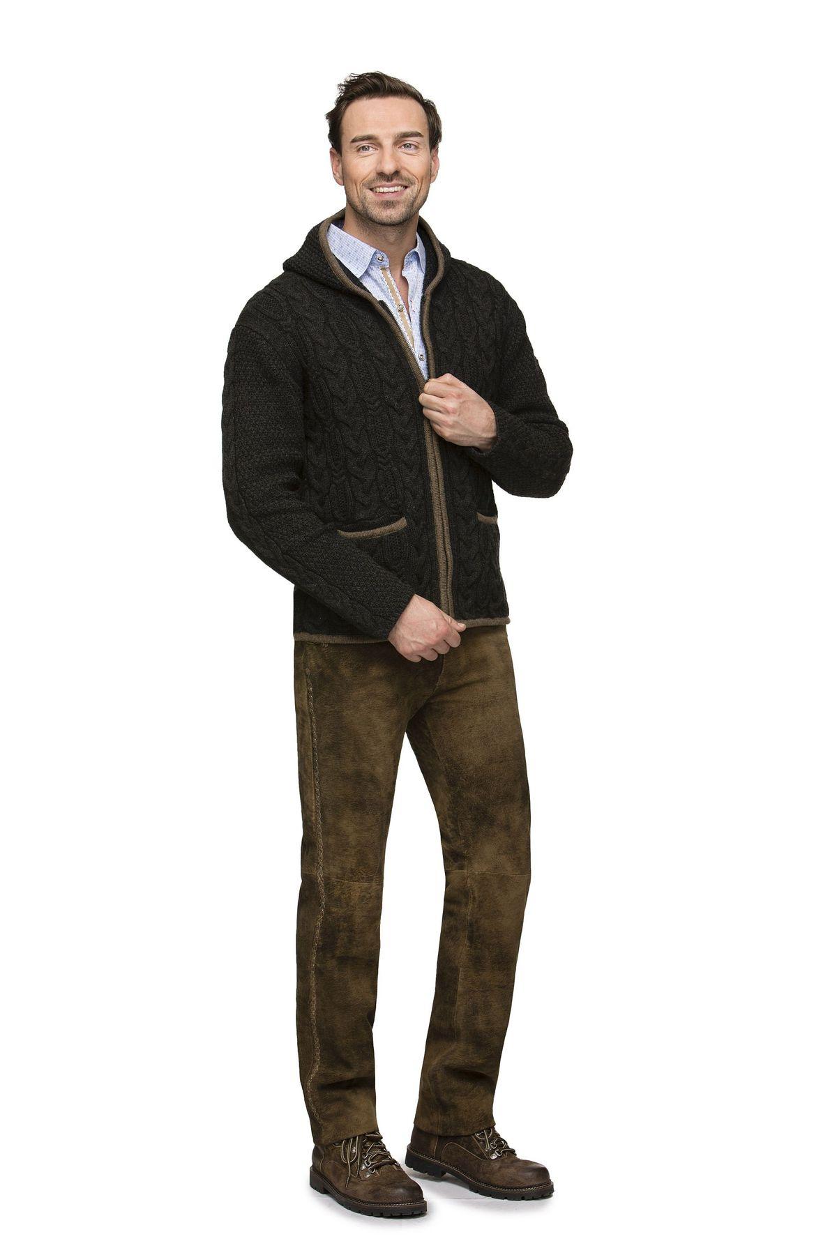 Stockerpoint - Herren Trachten Strickjacke mit Kapuze, Tilo – Bild 4