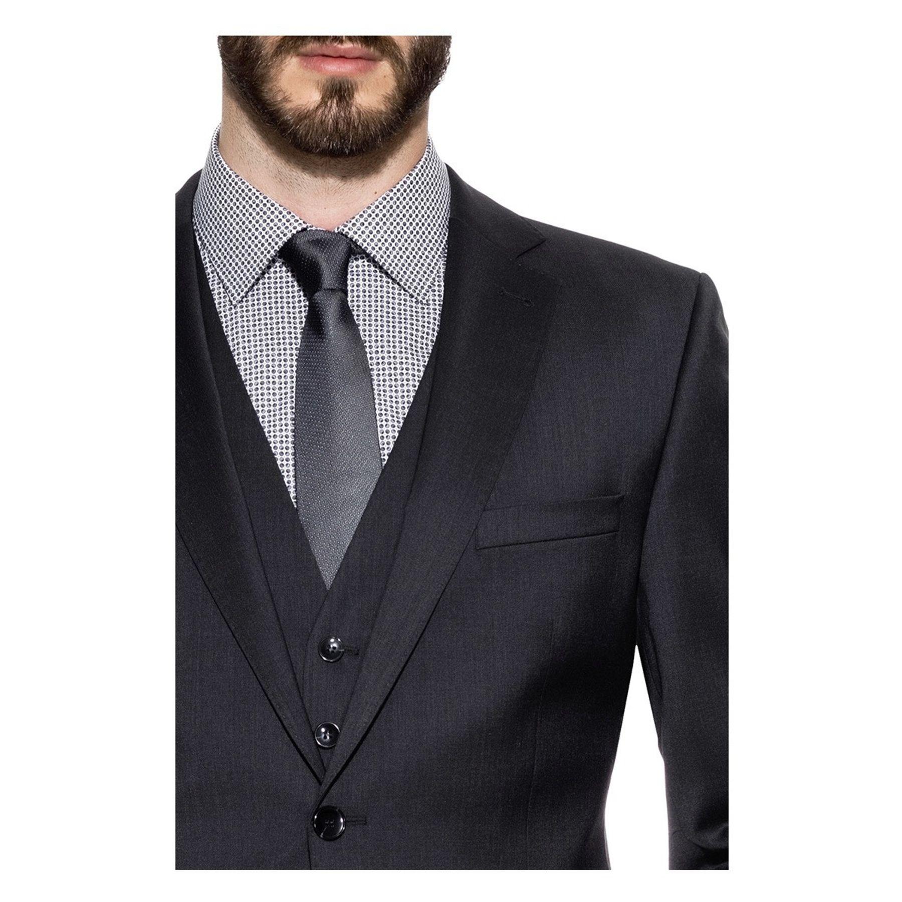 Benvenuto Black - Modern Fit -  Herren Baukasten Anzug aus Super 110'S Schurwolle in verschiedenen Farben (20761) – Bild 3