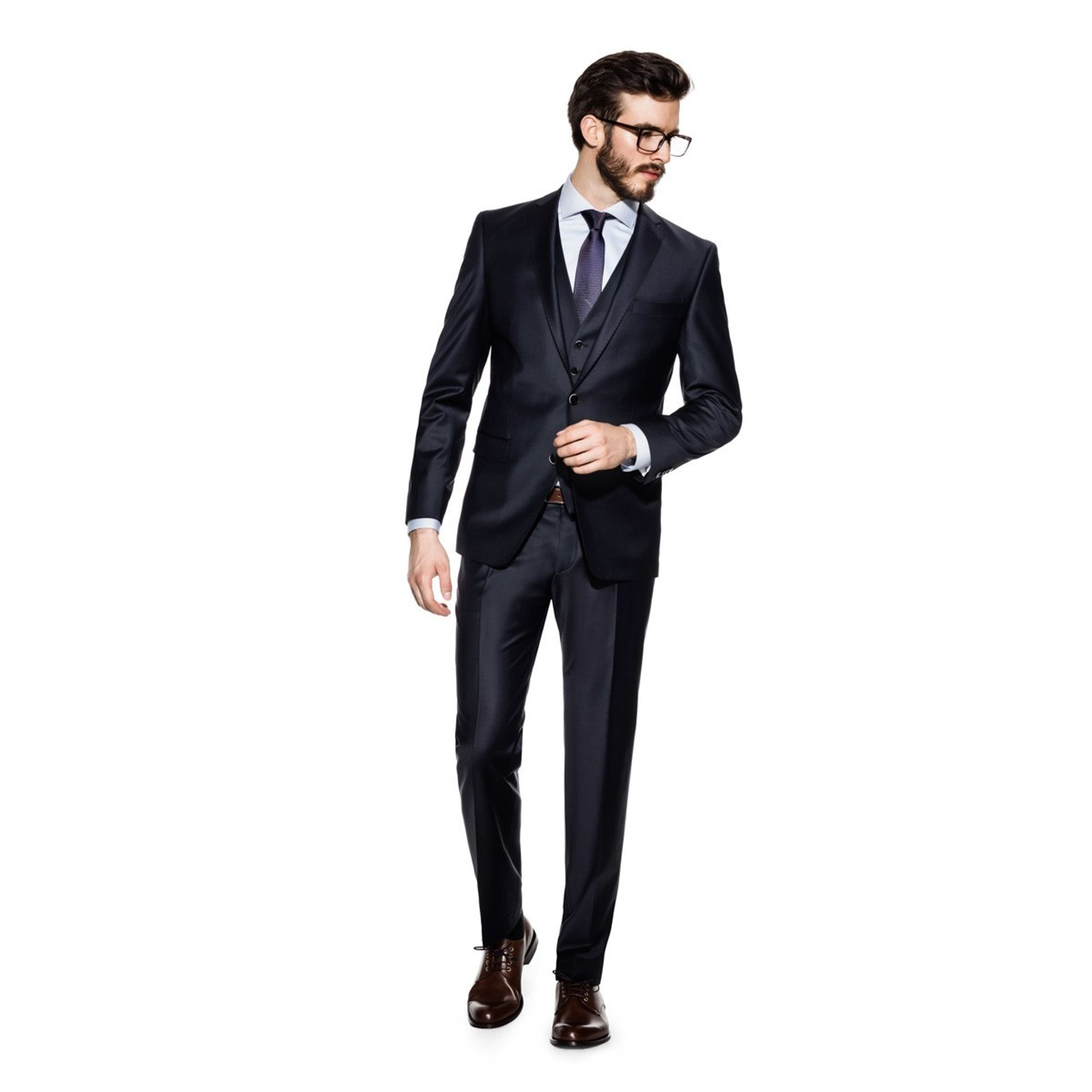 low priced 1a7c8 7f6a2 Benvenuto Black - Slim Fit - Herren Baukasten Anzug in Dunkelblau oder Grau  (20751)