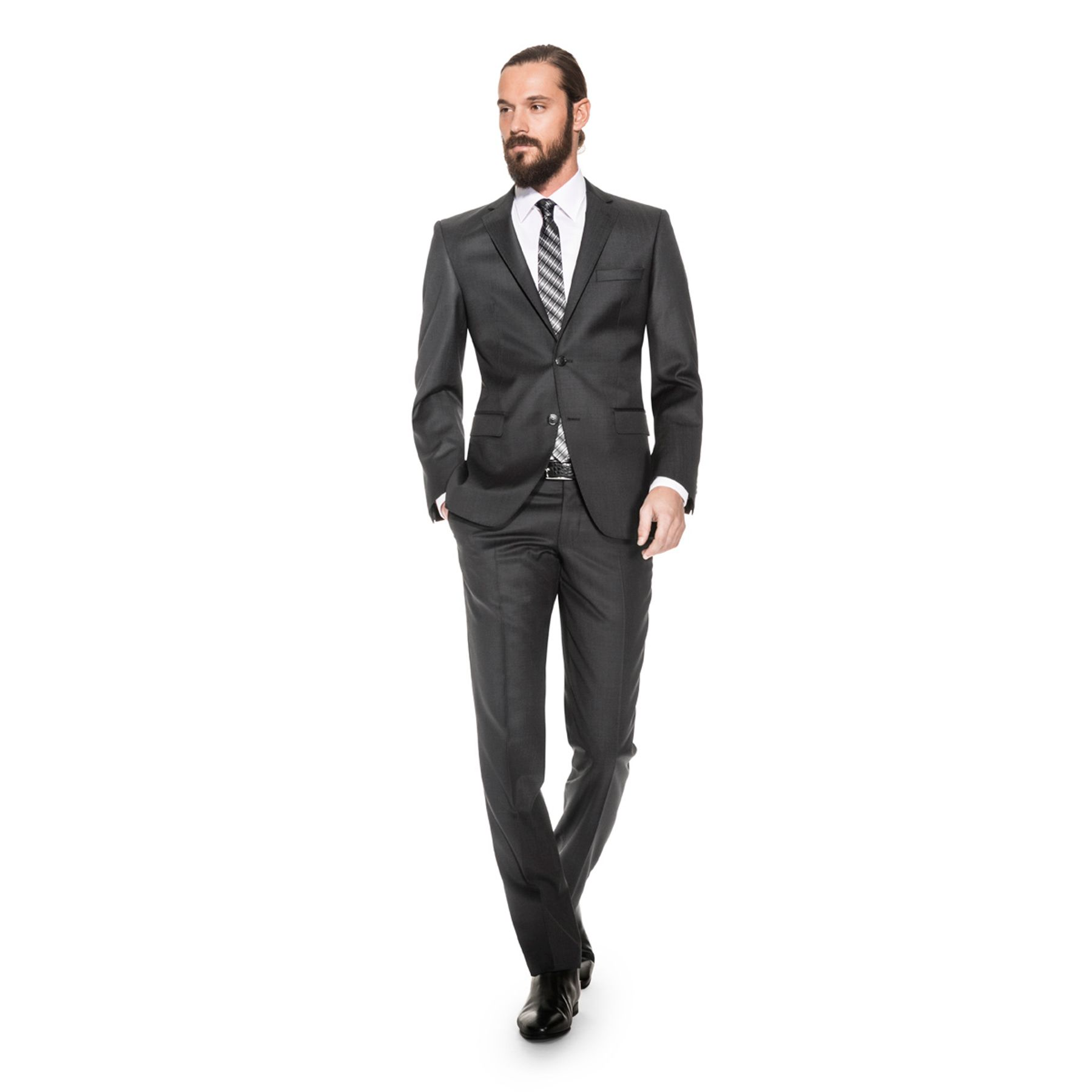 Benvenuto Black - Modern Fit - Herren Baukasten Anzug gemustert aus Super 100'S Schurwolle, (20711, Modell: 62100, 62400) – Bild 3