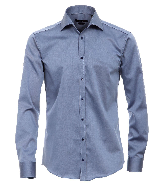 Venti - Slim Fit - Bügelfreies Herren Langarm Hemd mit Haifisch Kragen in verschiedenen Farben (001800 A) 001