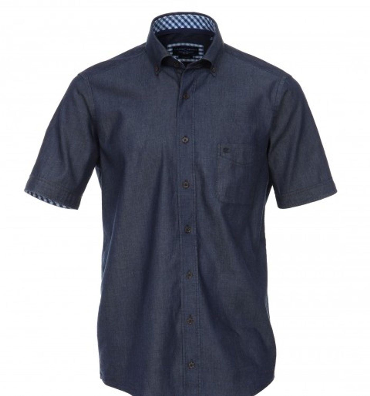 Casamoda - Casual Fit - Herren Jeans Hemd in Anthrazit oder Blau, Kurzarm (008303)