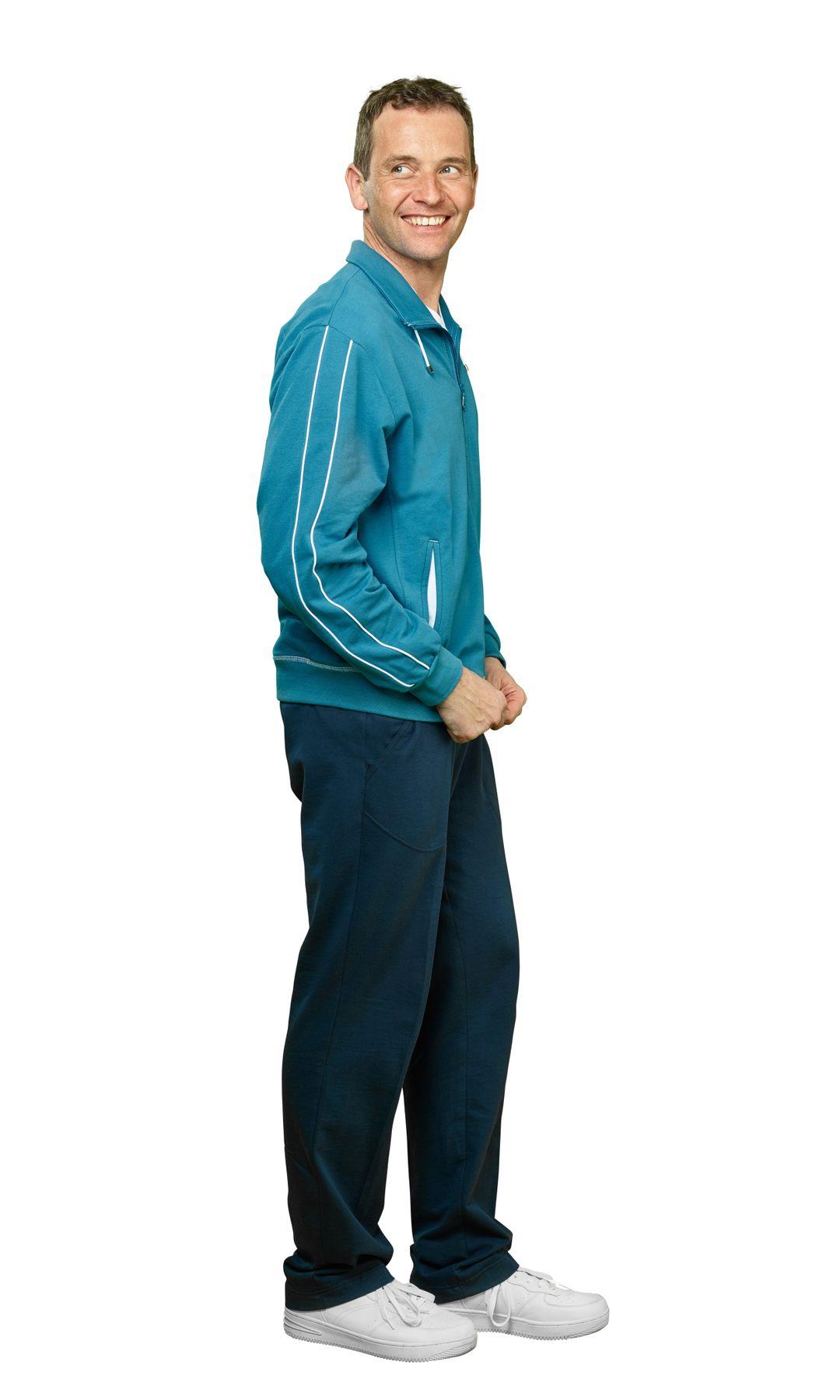 Authentic klein - Herren Sport und Freizeit Jacke aus Baumwolle in Petrol Blau oder Schwarz (53031) – Bild 5