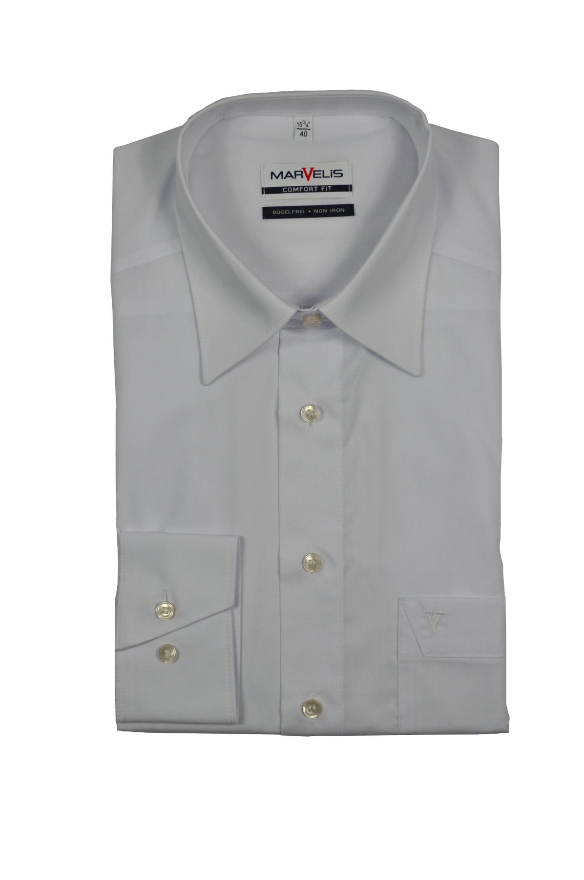 Marvelis - Comfort Fit - Bügelfreies Herren Langarm Hemd in Weiß, Kent Kragen (7970/64)