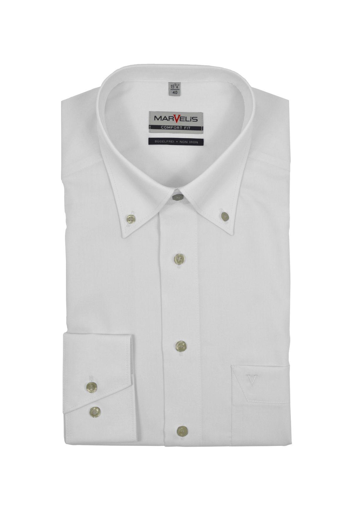 Marvelis - Comfort Fit - Bügelfreies Herren Langarm Hemd in Weiß oder Blau, Button-Down Kragen (7971/64)