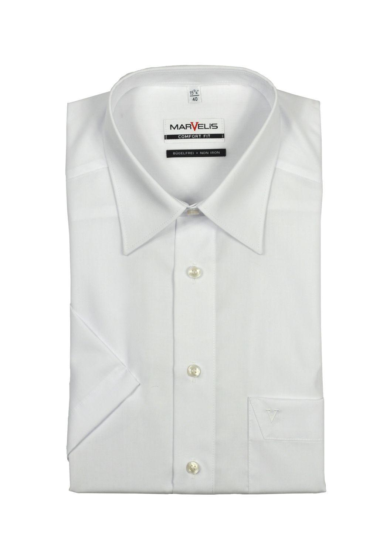 Marvelis - Comfort Fit - Herren Kurzarm Hemd in Weiß mit Kent Kragen, Bügelfrei (7970/12)