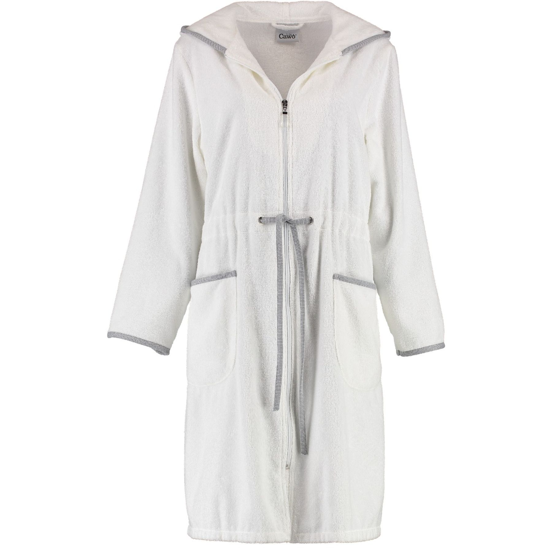 Cawö - Damen Bademantel mit Reißverschluss und Kapuze in Weiß (4103)