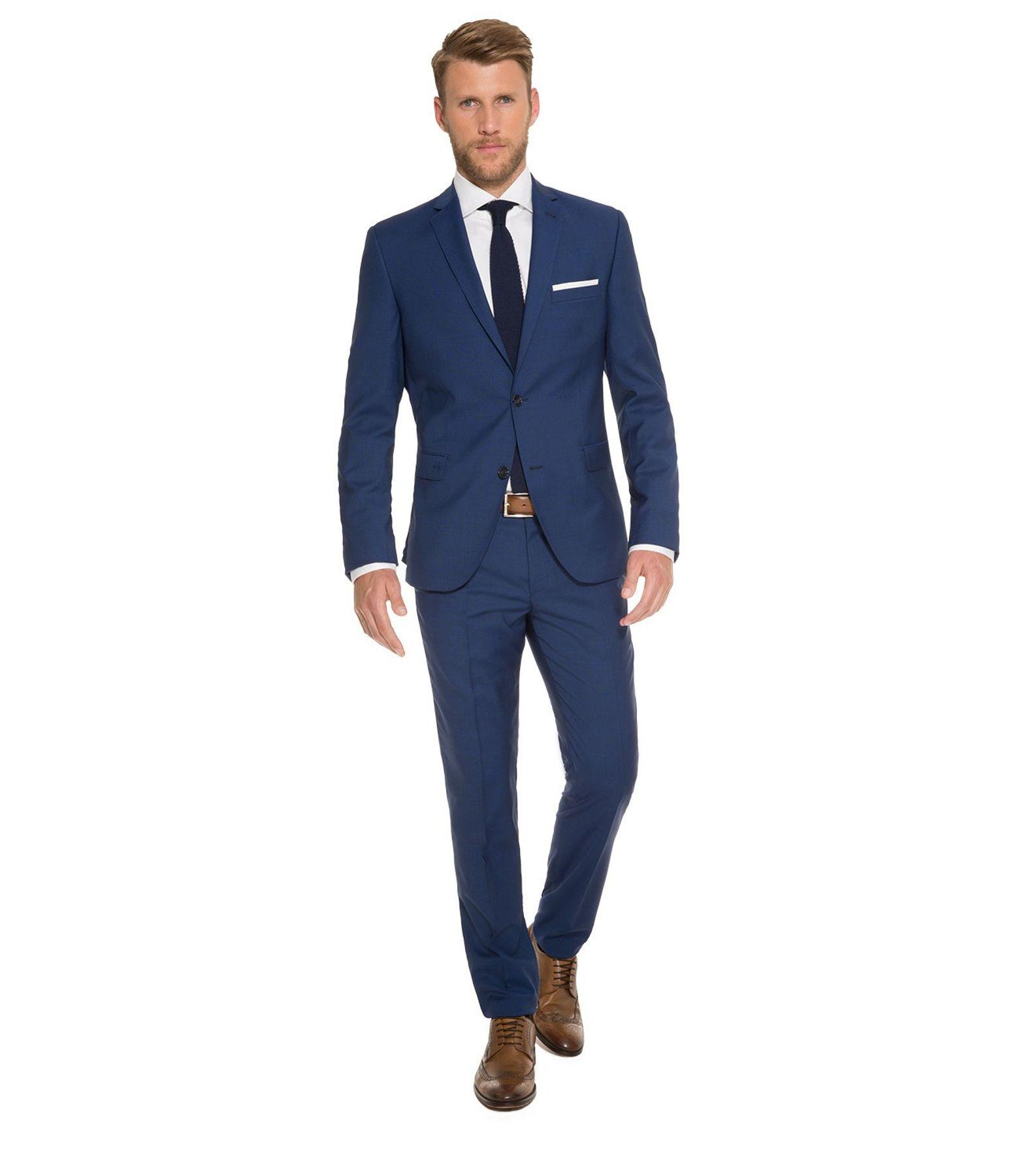 Marzotto - Slim Fit - Herren Baukasten Anzug aus Super 100'S Schurwolle, Steven AMF BK/Stan BK (CHS-9999-6729)