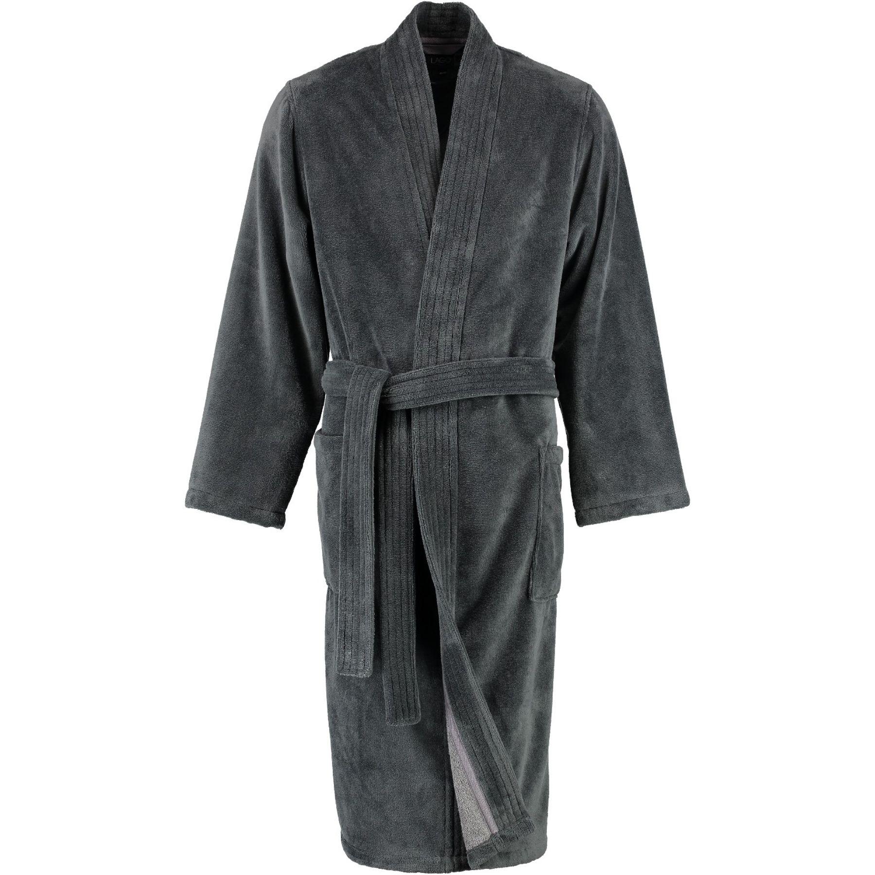 Lago - Herren Velours Bademantel mit Kimono Form in verschiedenen Farbtönen (800/LG807/GG808) – Bild 10