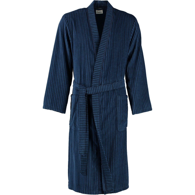 Cawö - Herren Velours Bademantel mit Kimono Form in Blau oder Nougat-braun (6842/GG8146/SG6942)