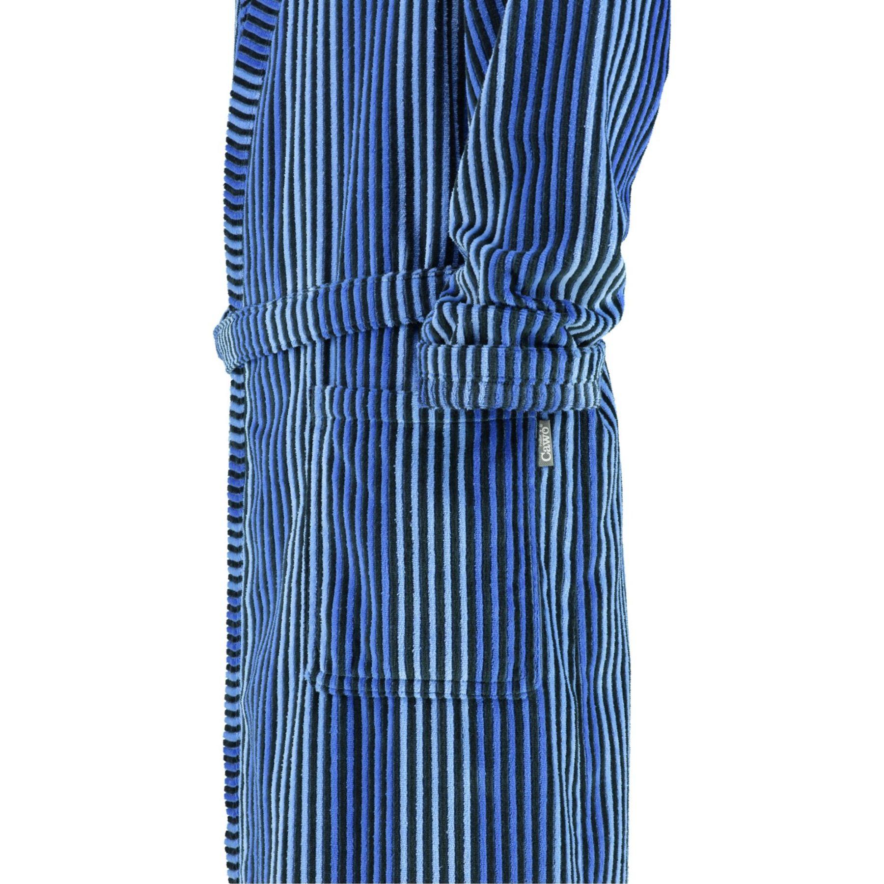 Cawö - Extra leichter Herren Velours Bademantel Kimono in Cord-Optik, Blau oder Anthrazit (953) – Bild 4