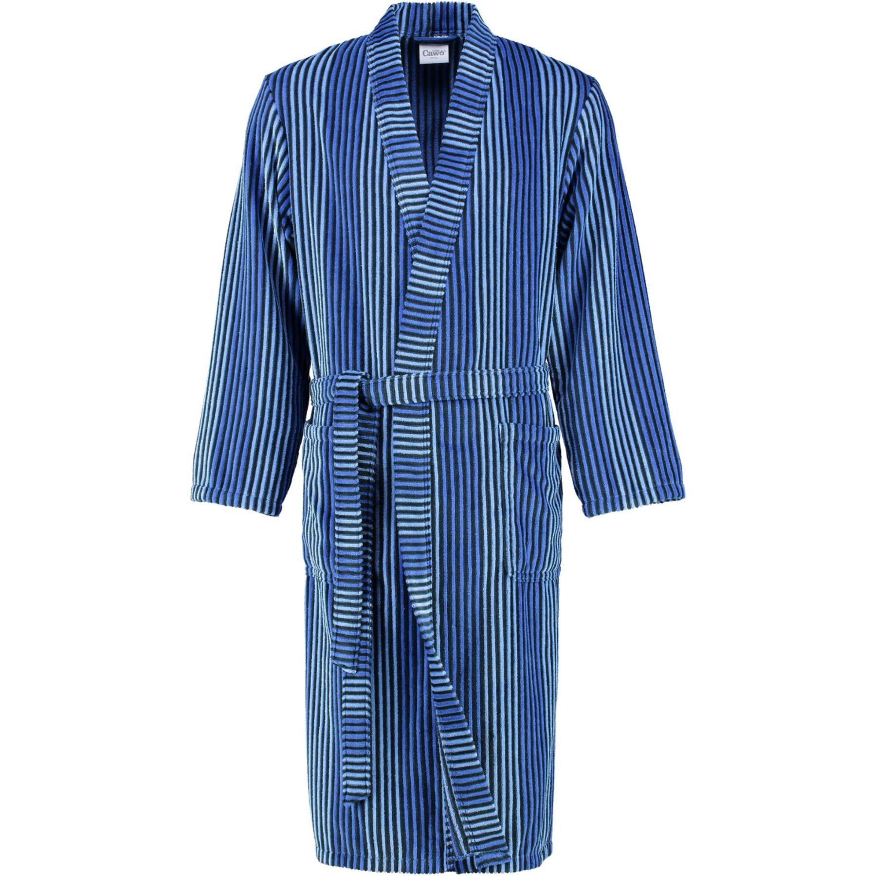 9c18d7254a81 Cawö - Extra leichter Herren Velours Bademantel Kimono in Cord-Optik, Blau  oder Anthrazit