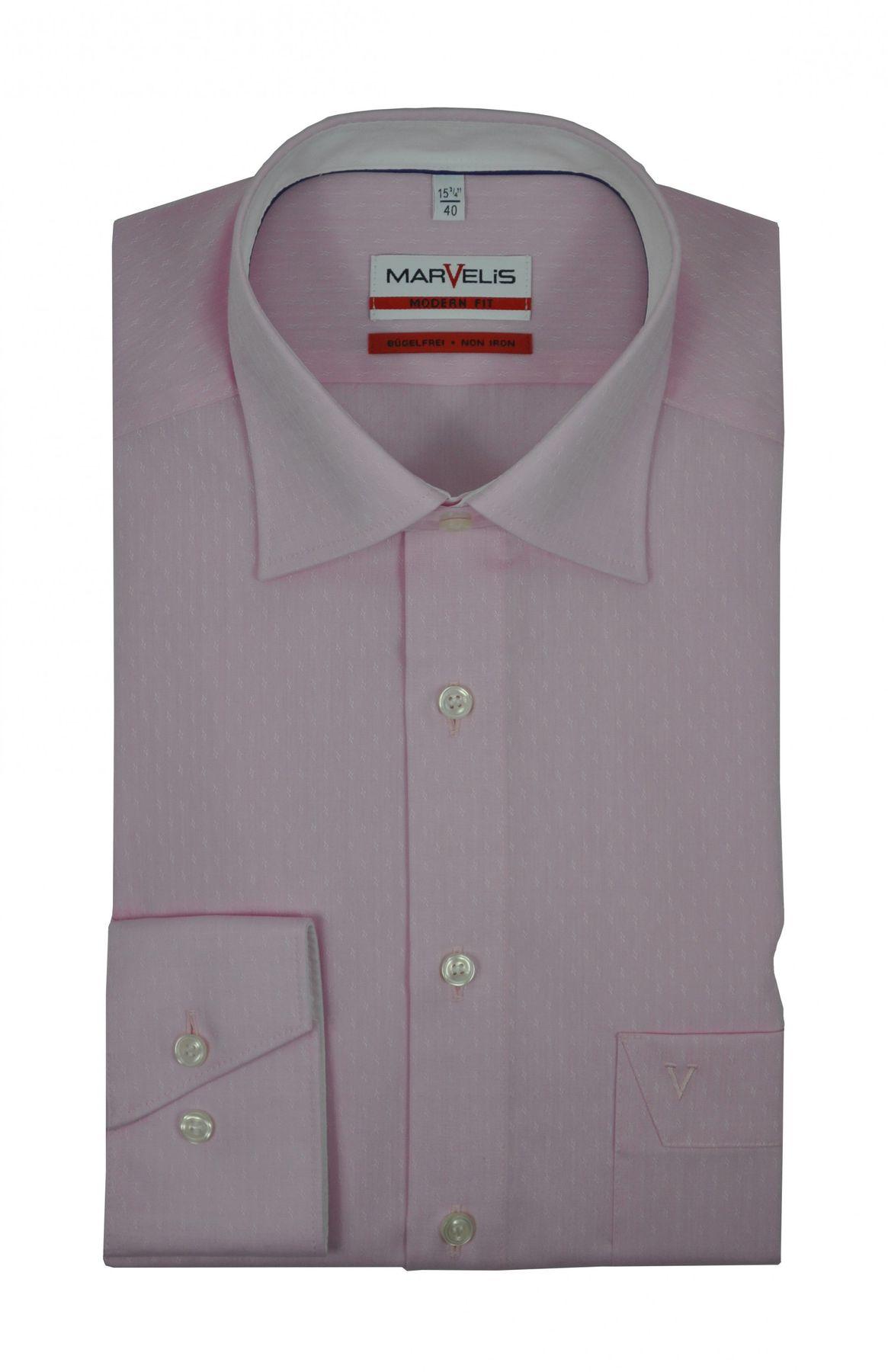 Marvelis - Modern Fit - Bügelfreies Herren Langarm Hemd in Rosa (7223/54)