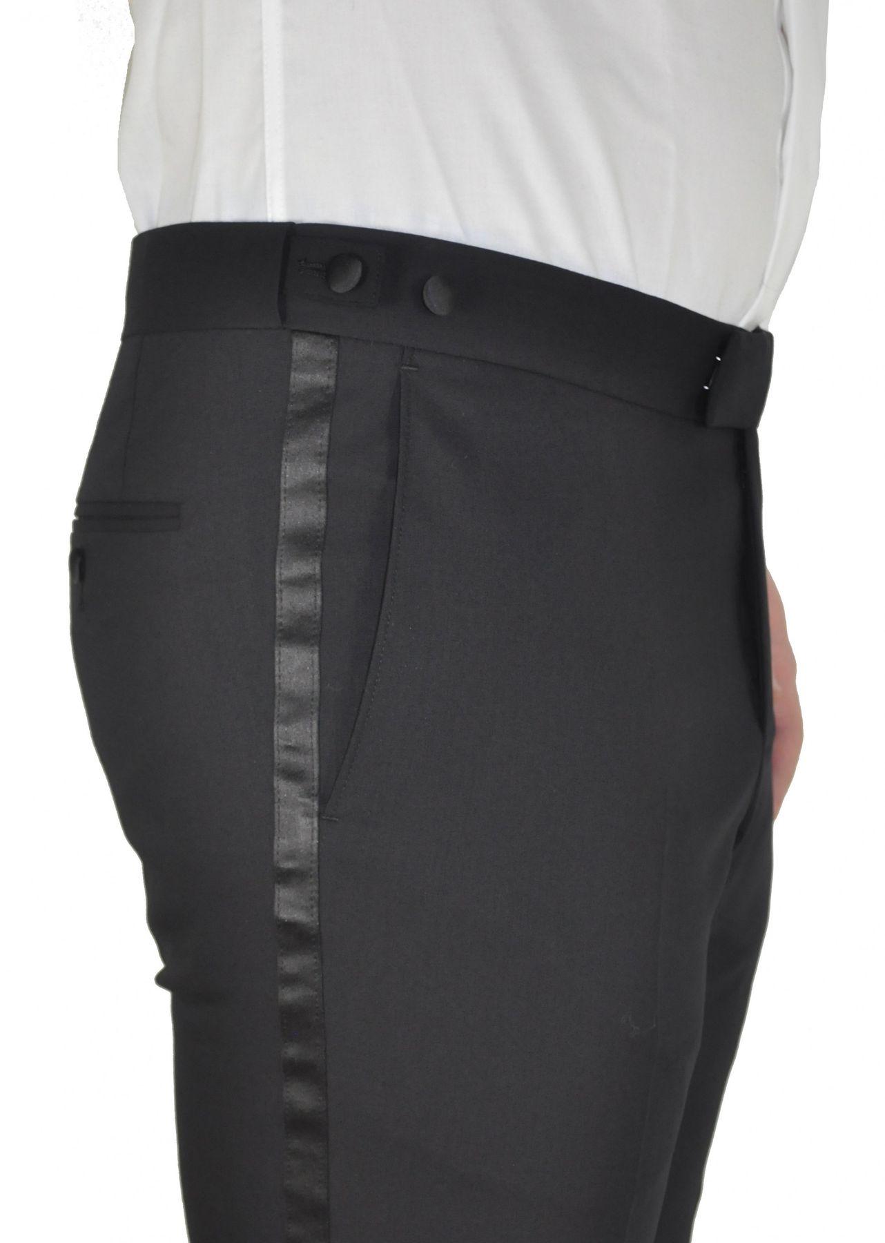 Masterhand - Tailored Fit - Festliche Herren Smoking Hose aus reiner Schurwolle in Schwarz, 900 8001 (Tam) – Bild 2