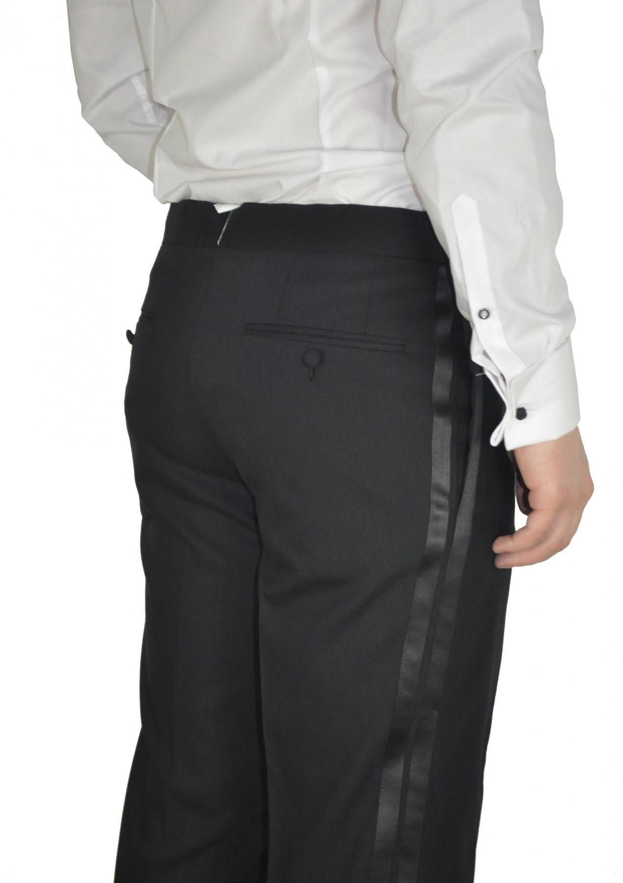 Masterhand - Comfort Fit - Festliche Herren Frack Hose aus reiner Schurwolle in Schwarz, 900 8001 (Cort) – Bild 2