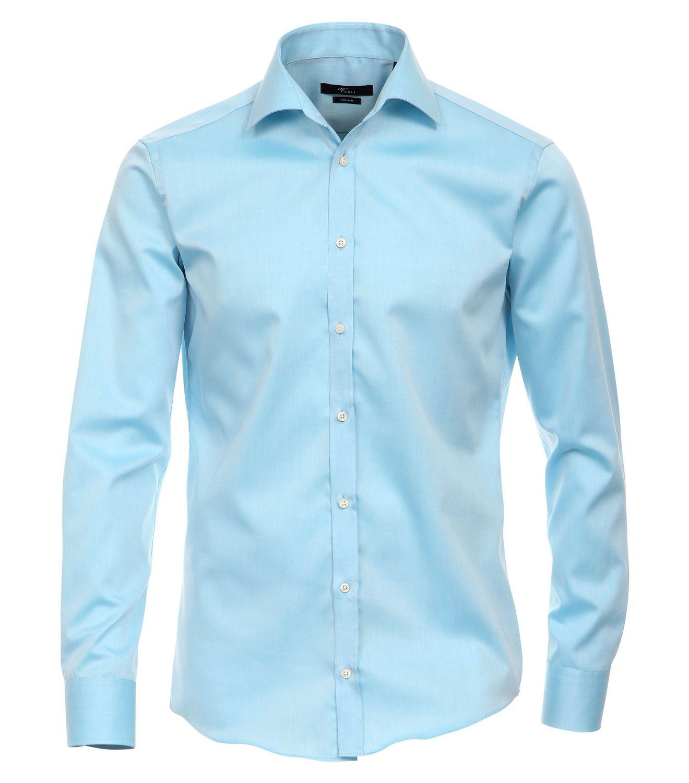 Venti - Slim Fit - Bügelfreies Herren Langarm Hemd mit Haifisch Kragen in verschiedenen Farben (001800)