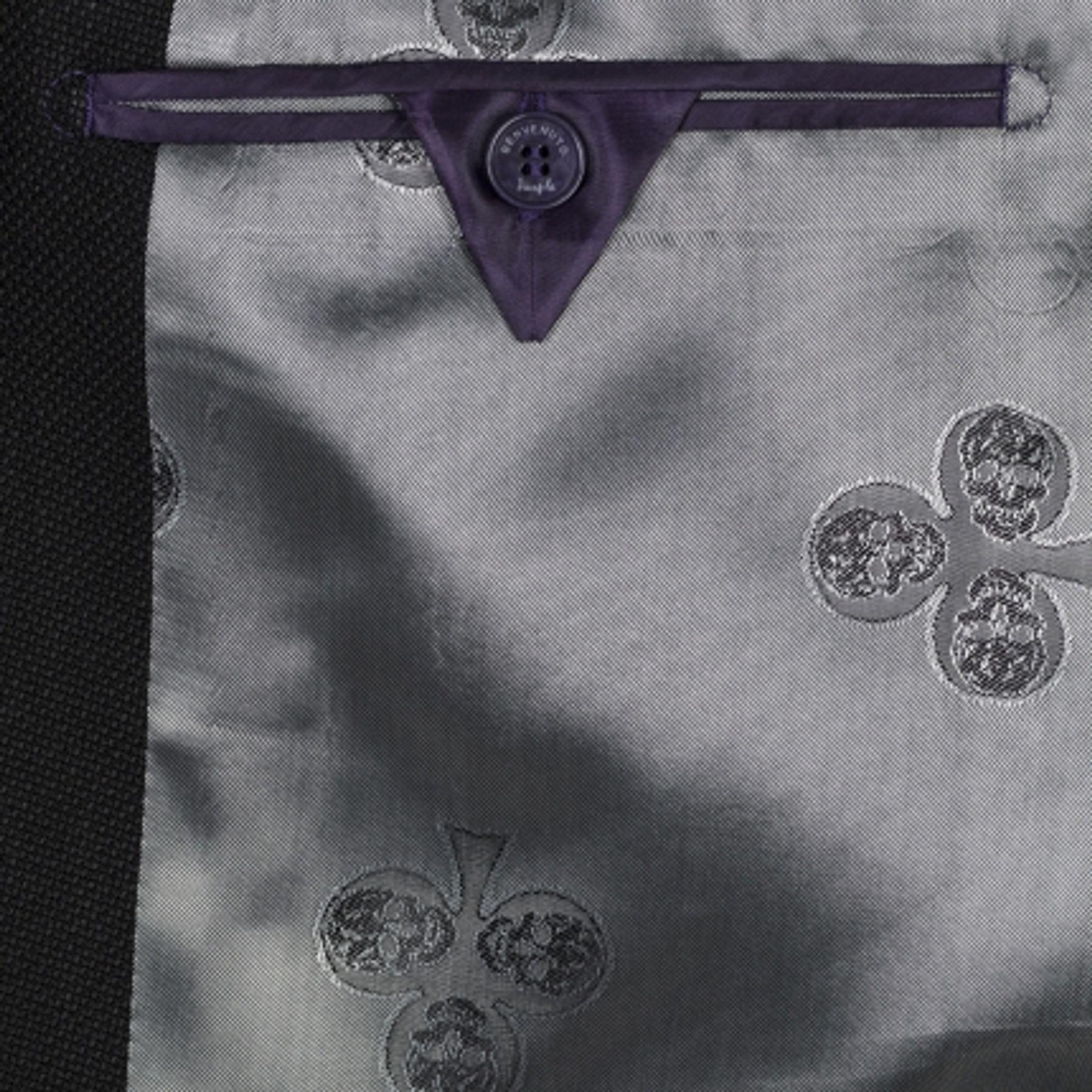 Benvenuto Purple - Slim Fit - Herren Sakko in trendiger Uni-Struktur in Schwarz, Agostino Club (20817, Modell: 61548) – Bild 6