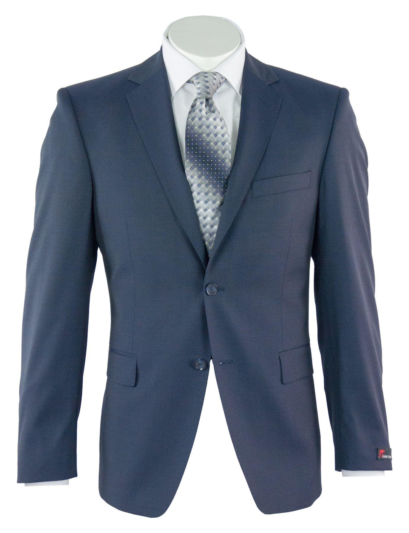 Atelier Torino - Modern Fit - Herren Baukasten Anzug in Dunkelblau, Minimal kariert, Weber: Tollegno, Roma SS/Aldo (841100) – Bild 1