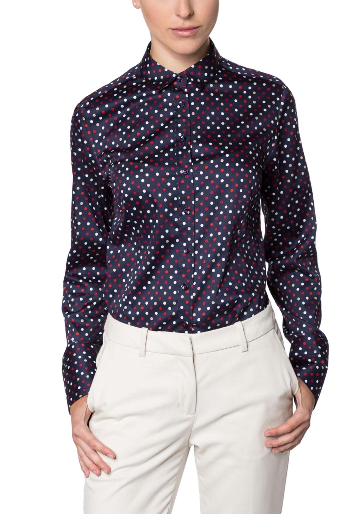 Eterna - Comfort Fit - Damen Langarm Bluse in Marineblau/Rot bedruckt (7614 D624) – Bild 1