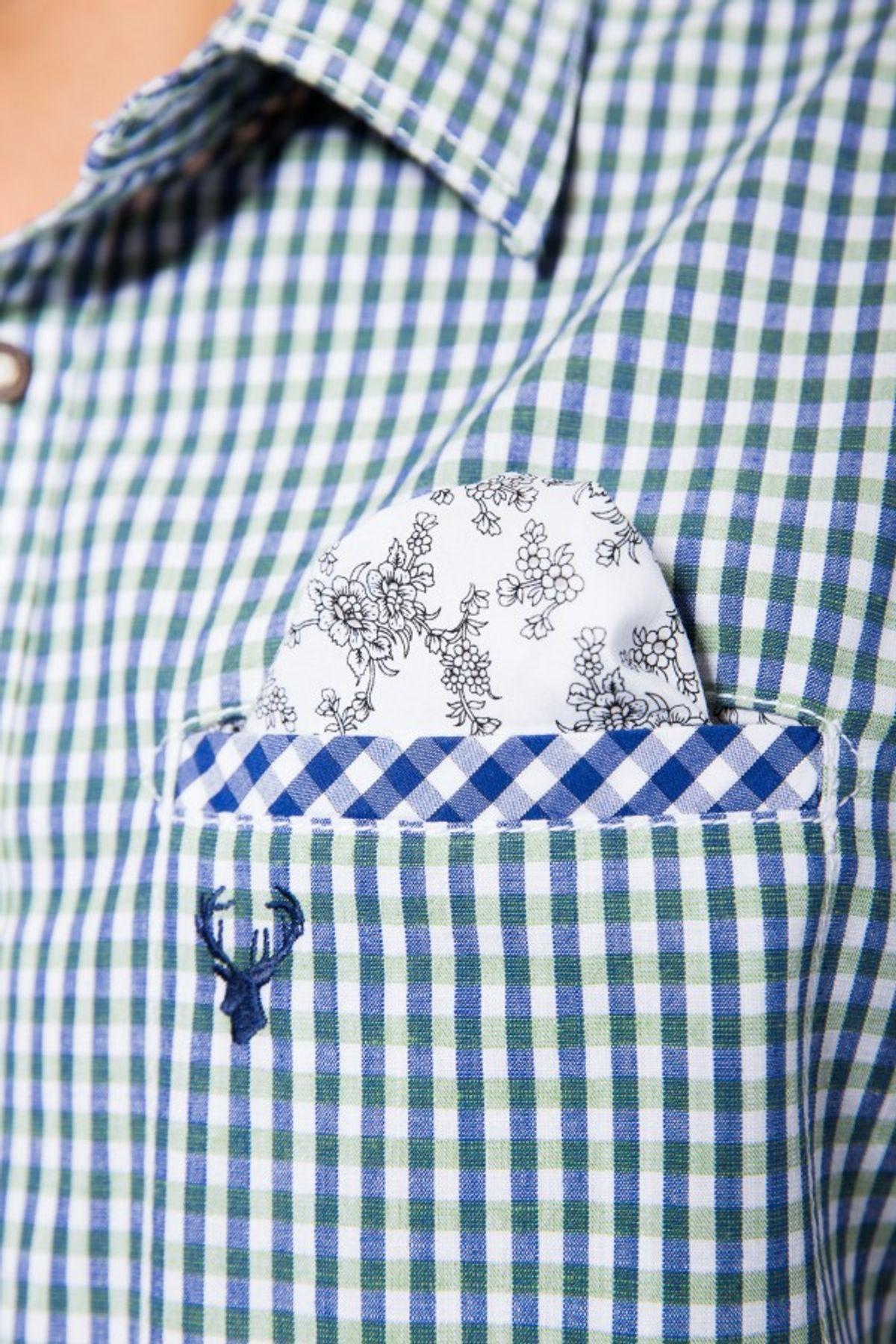 Krüger - Herren Trachtenhemd in grün, Green Noble deer (93106-805) – Bild 5