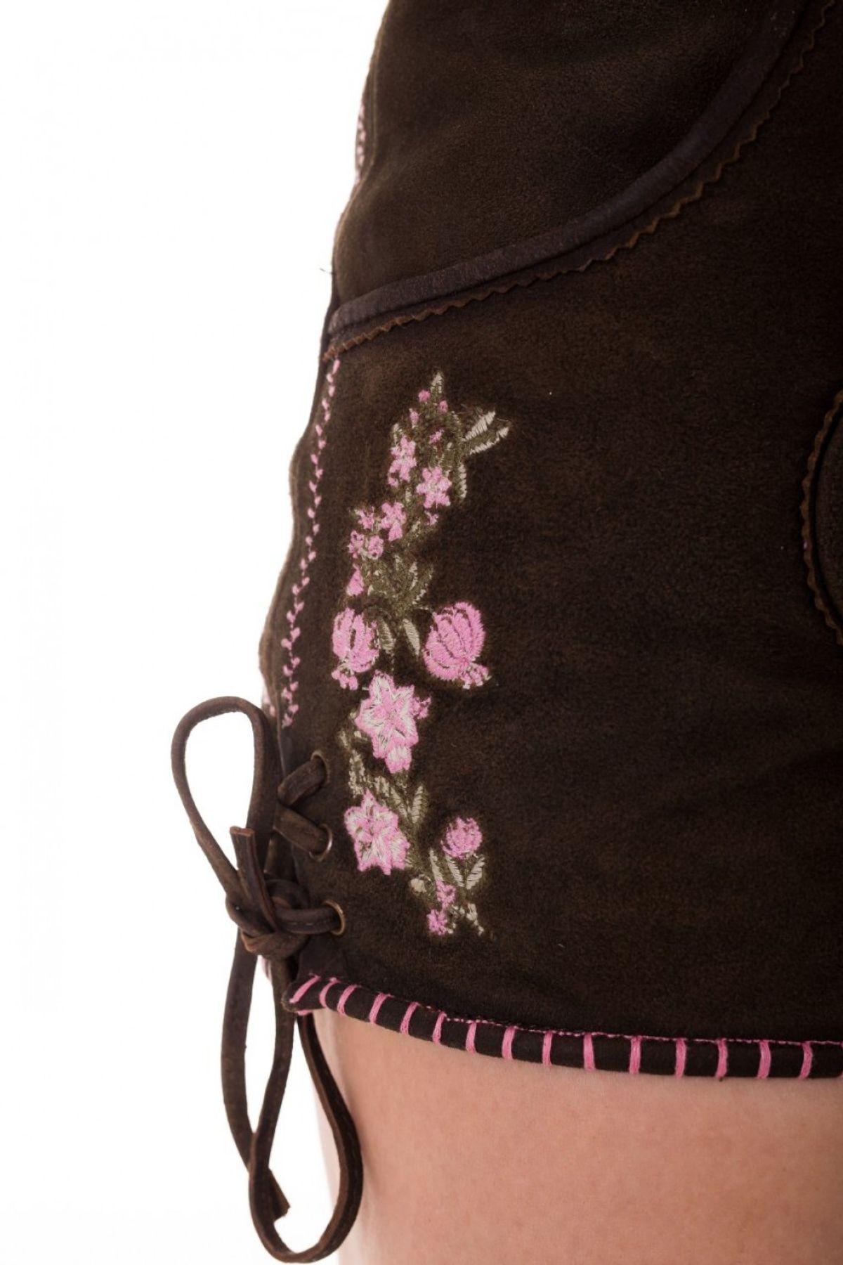 Krüger - Damen Lederhose in der Farbe Braun, Pink Bloom  (Artikelnummer: 32362-733) – Bild 2