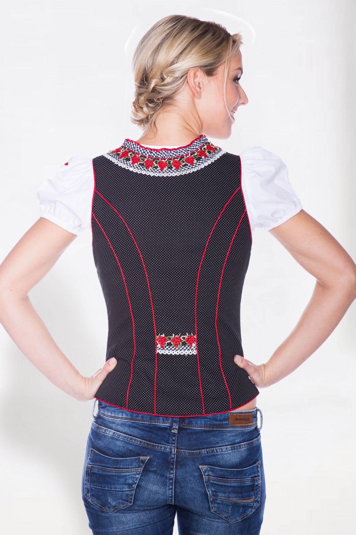 Krüger - Damen Trachten Mieder in Rot/Schwarz mit weißen Punkten aus 100% Baumwolle, Rotkäppchen (Artikelnummer: 31501-409) – Bild 3