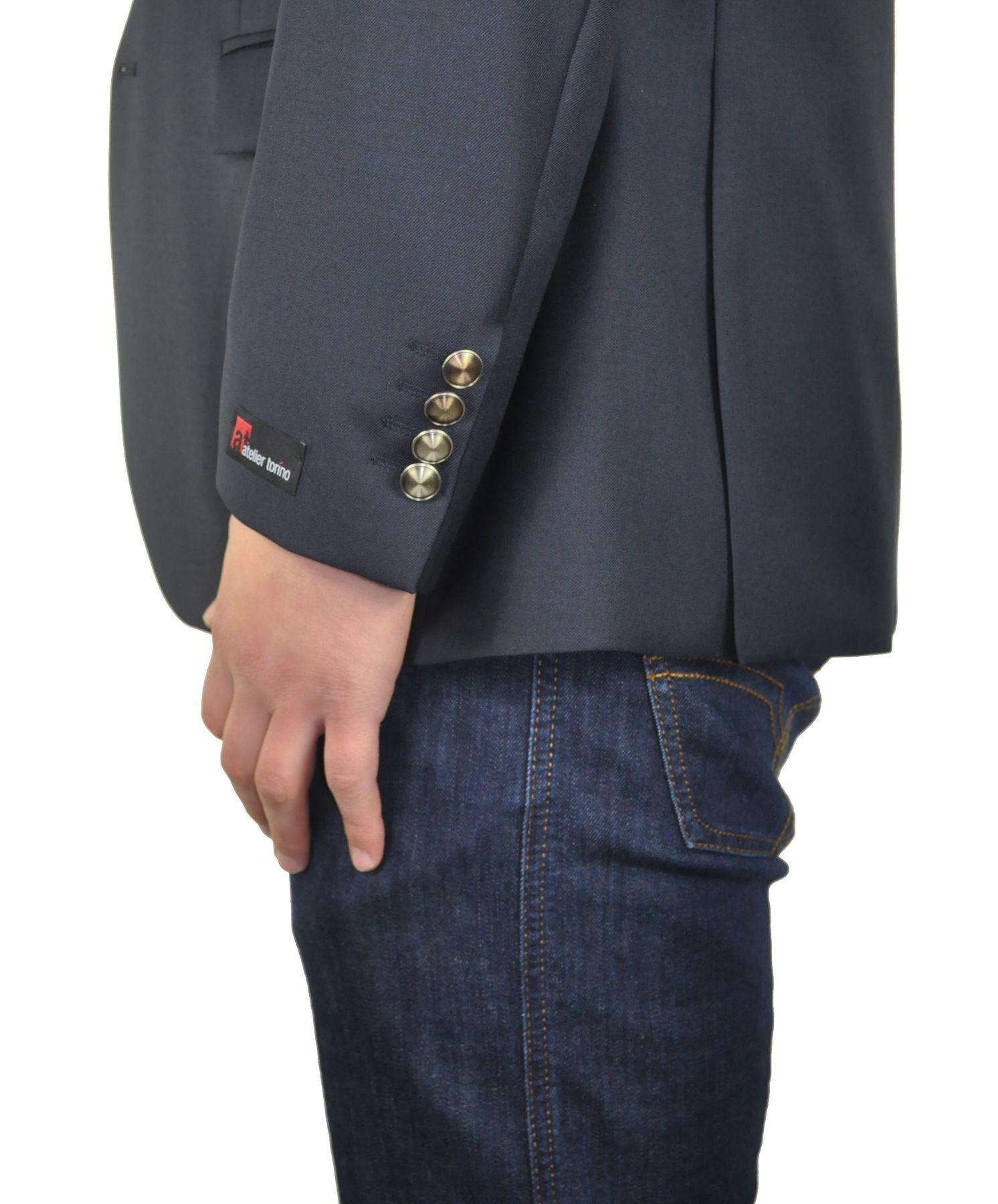 Atelier Torino - Classic Fit - Herren Blazer mit Goldknöpfen aus Super 100'S Schurwolle in Dunkelblau, Lucio SS (07007) Model: Lucio SS (7177) – Bild 5