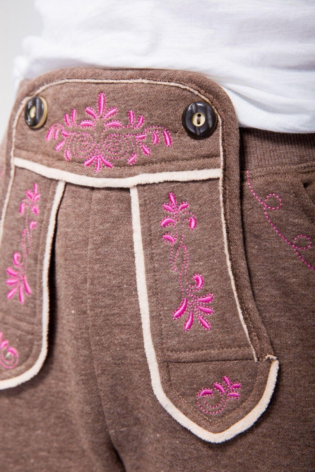 Krüger - Damen Trachtenhose im Kniebund-Lederhosen-Look in Braun, Array Joggers (Artikelnummer: 38310-7) – Bild 3