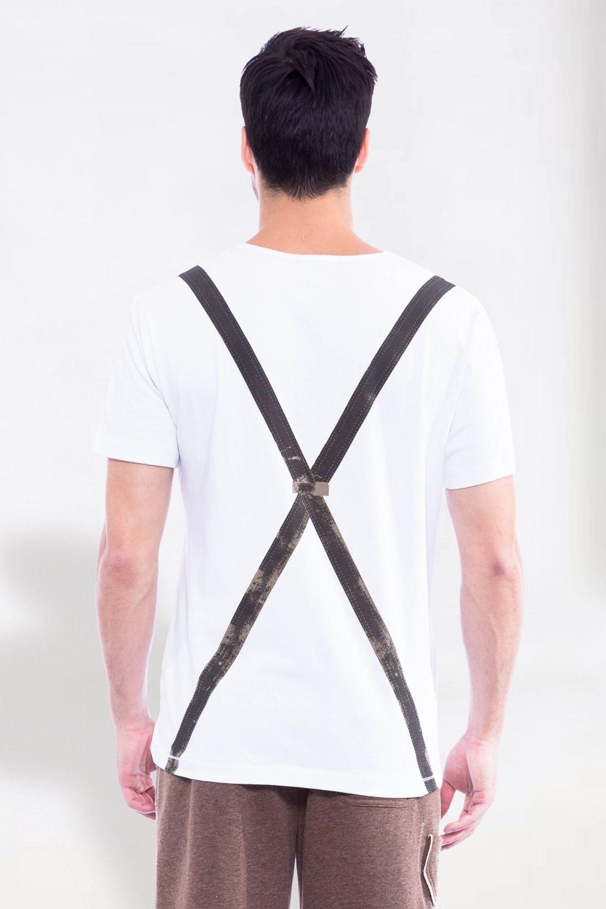 Krüger - Herren Trachten T-Shirt, mit Hosenträger-Print in Weiß, Bua (Artikelnummer: 96170-107) – Bild 2