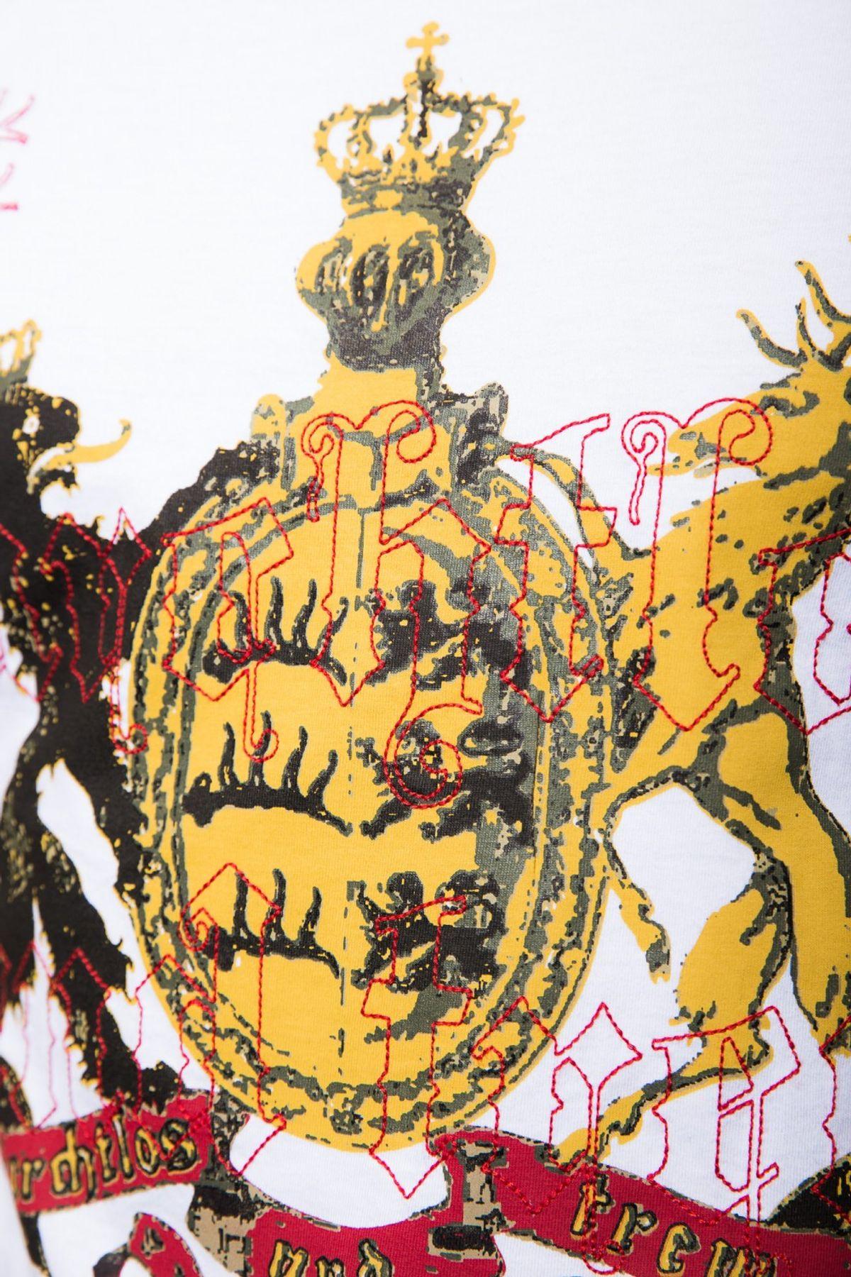 """Krüger - Herren Trachten T-Shirt, mit """"Furchtlos und treu""""-Aufdruck in Weiß, Furchtlos und Treu 2 (Artikelnummer: 92207-1) – Bild 3"""