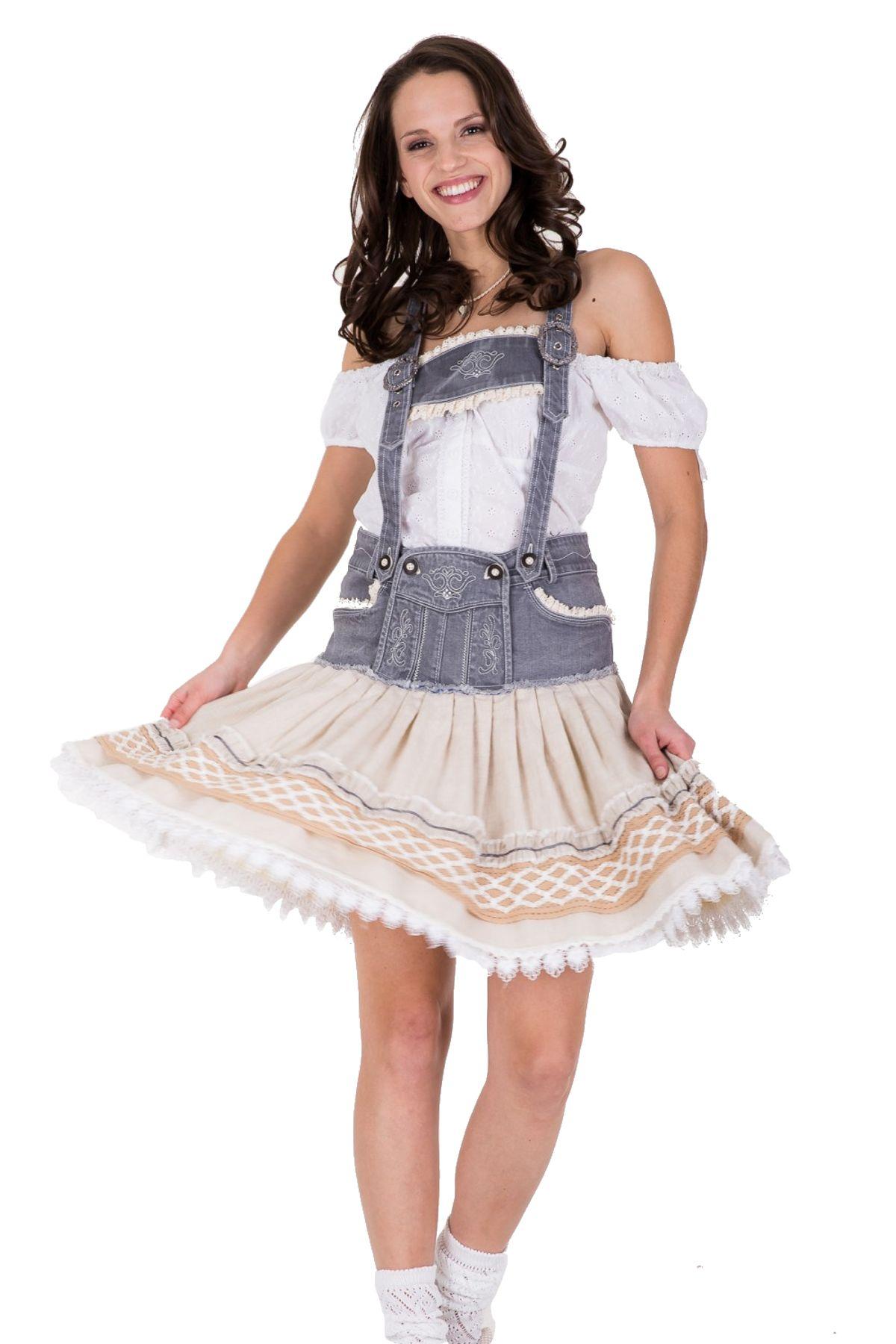 Krüger - Damen Trachtenrock mit Lederhosen Steg in Grau, Helene (Artikelnummer: 32335-15) – Bild 1
