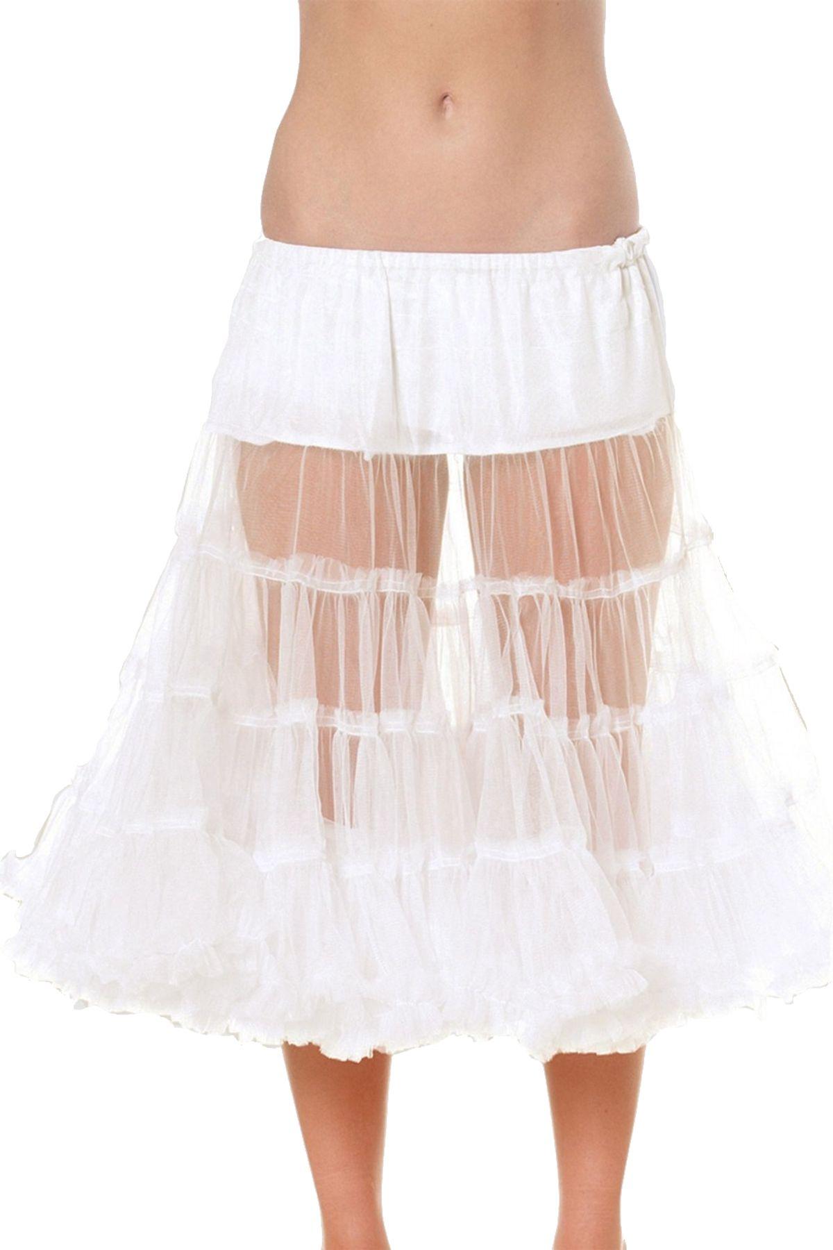 Krüger - Damen Petticoat, 70 cm Länge, Taillenweit ist frei regulierbar von Gr. 32 bis 46 in Weiß , Ecru 70 (Artikelnummer: 470-2) – Bild 1