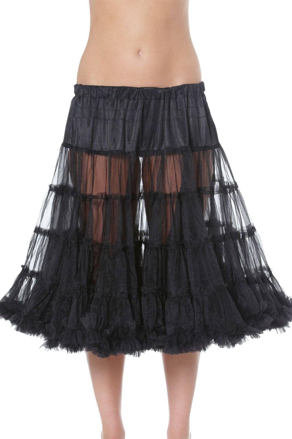 Krüger - Damen Petticoat, 80 cm Länge, Taillenweit ist frei regulierbar von Gr. 32 bis 46 in Schwarz , Black 80 (Artikelnummer: 480-4) – Bild 1