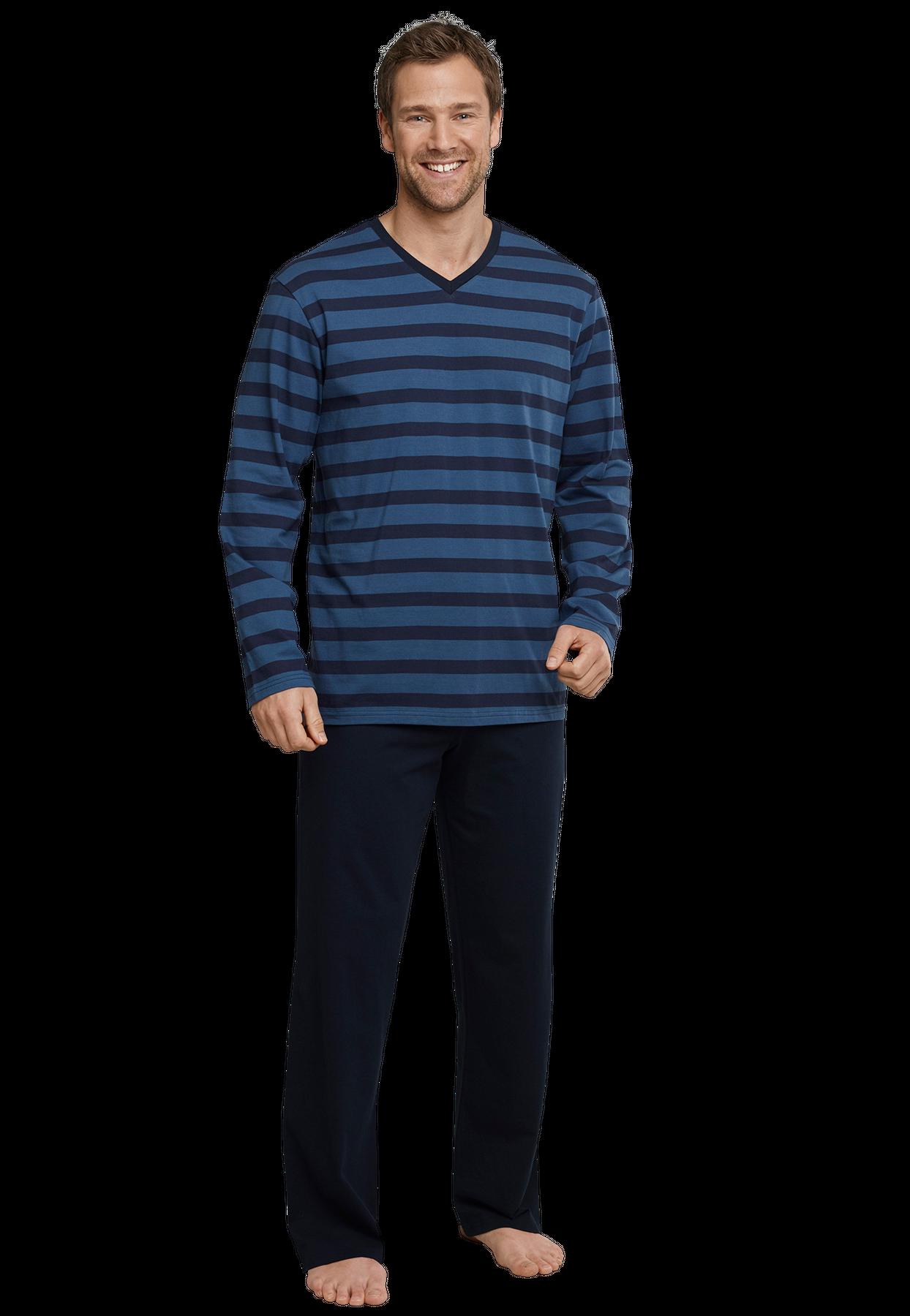 Seidensticker - Herren Pyjama lang, blau (159003) – Bild 1