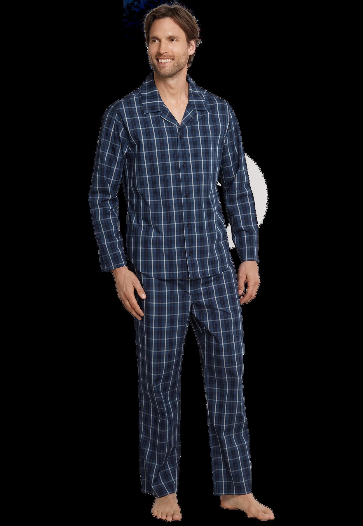 Seidensticker - Herren Pyjama lang, blau (159004) – Bild 1