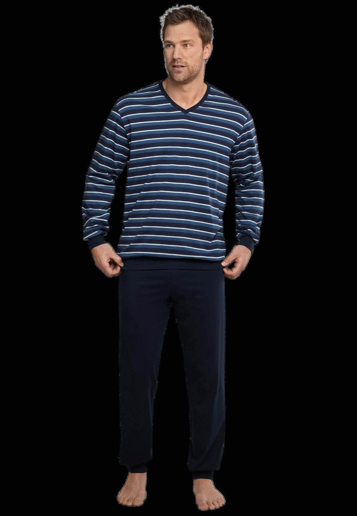 Seidensticker - Herren Pyjama lang, blau (159002) – Bild 1