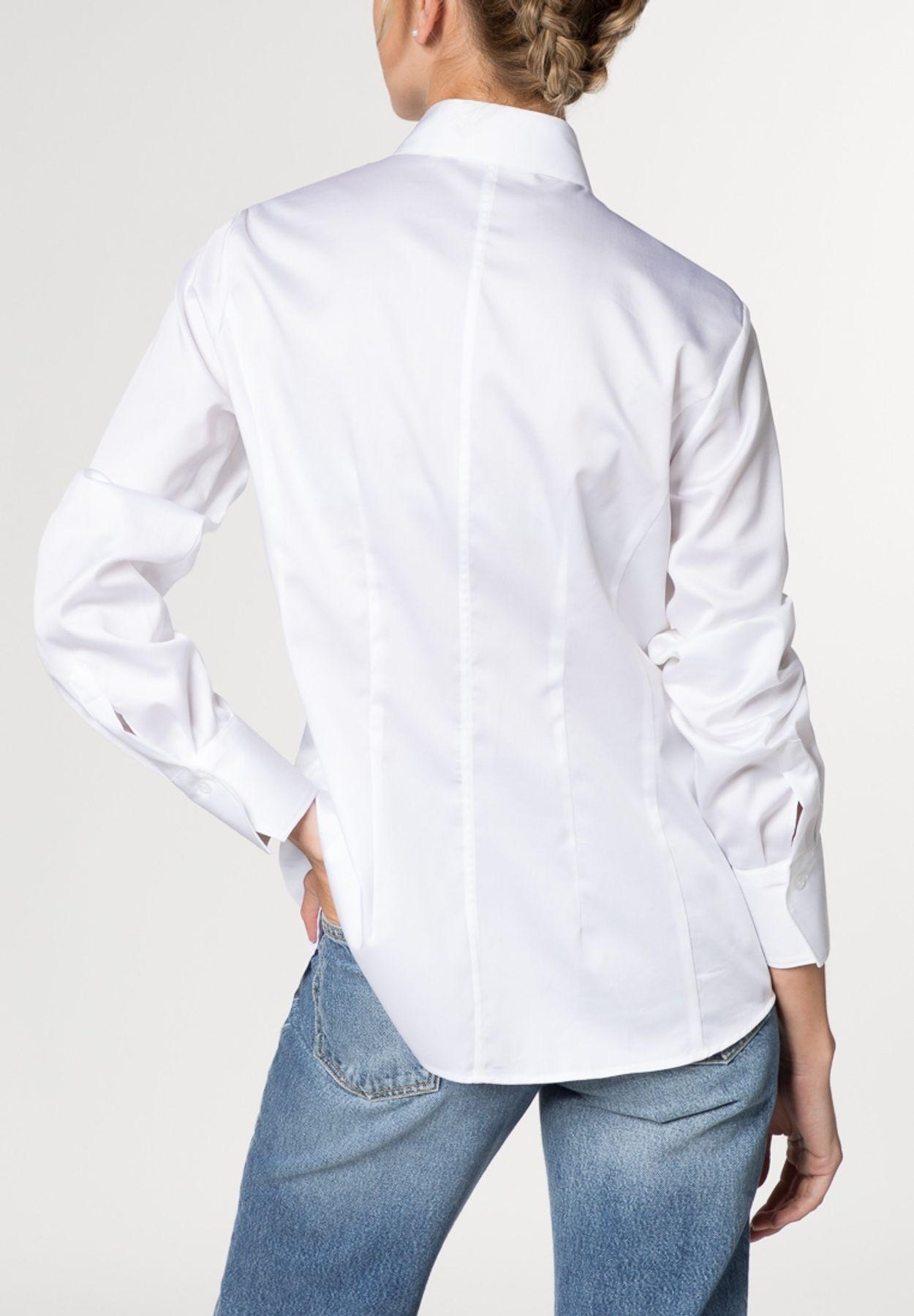 Eterna - Comfort Fit - Damen Langarm Bluse in Weiß (5585 D749) – Bild 3