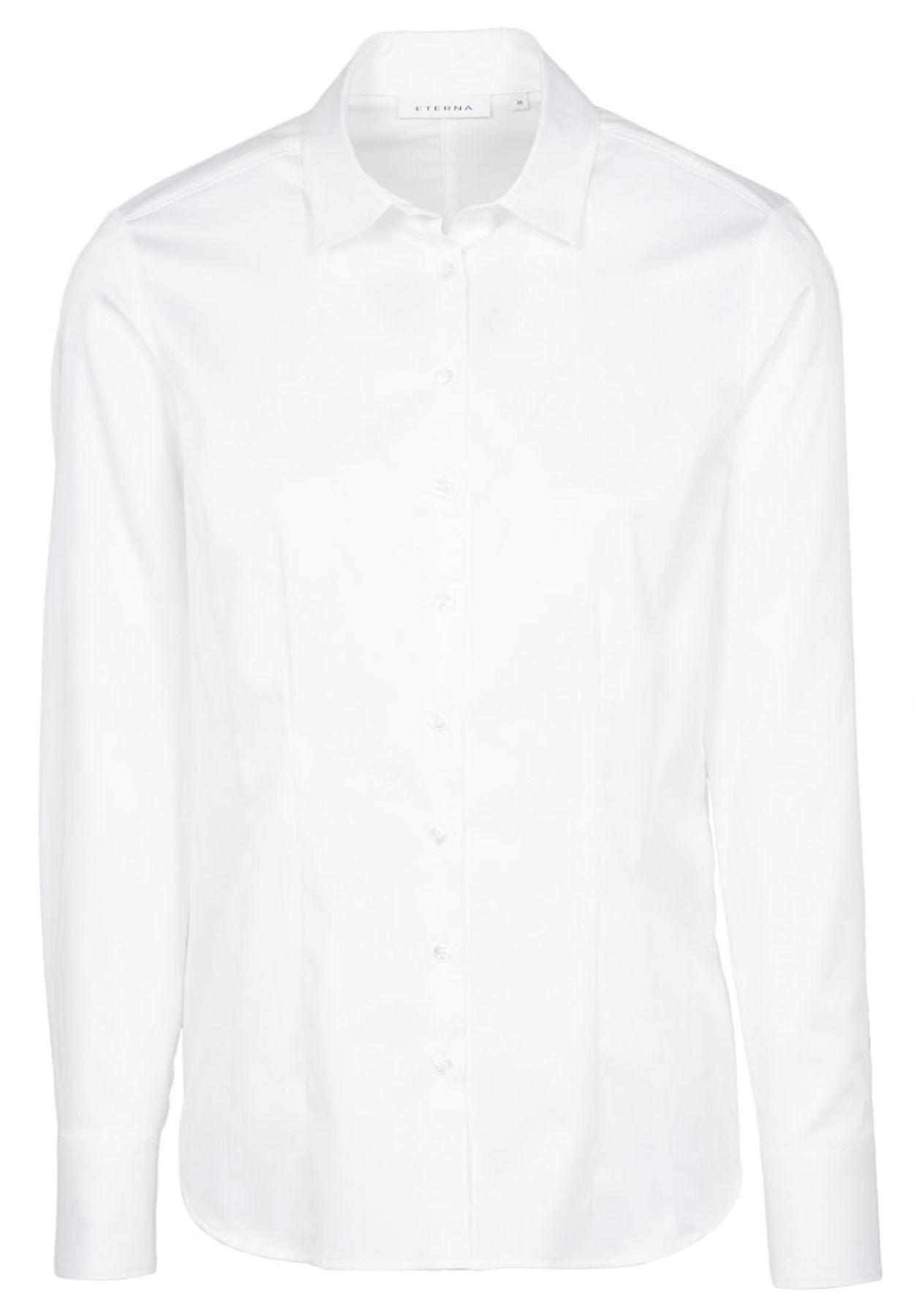 Eterna - Comfort Fit - Damen Langarm Bluse in Weiß (5585 D749) – Bild 1