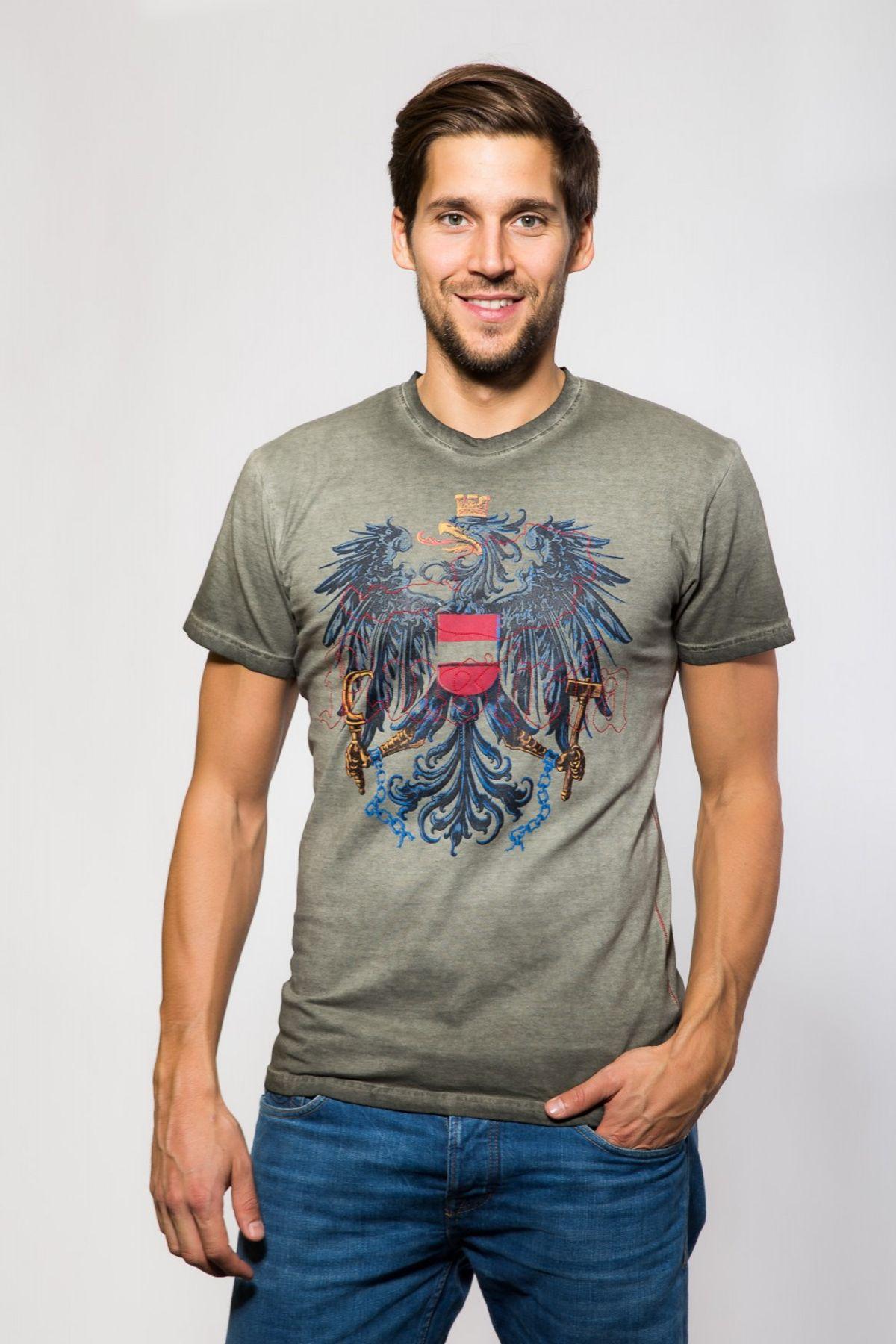 Krüger - Herren Trachten T-Shirt, Österreich  (Artikelnummer: 92213-7) – Bild 2