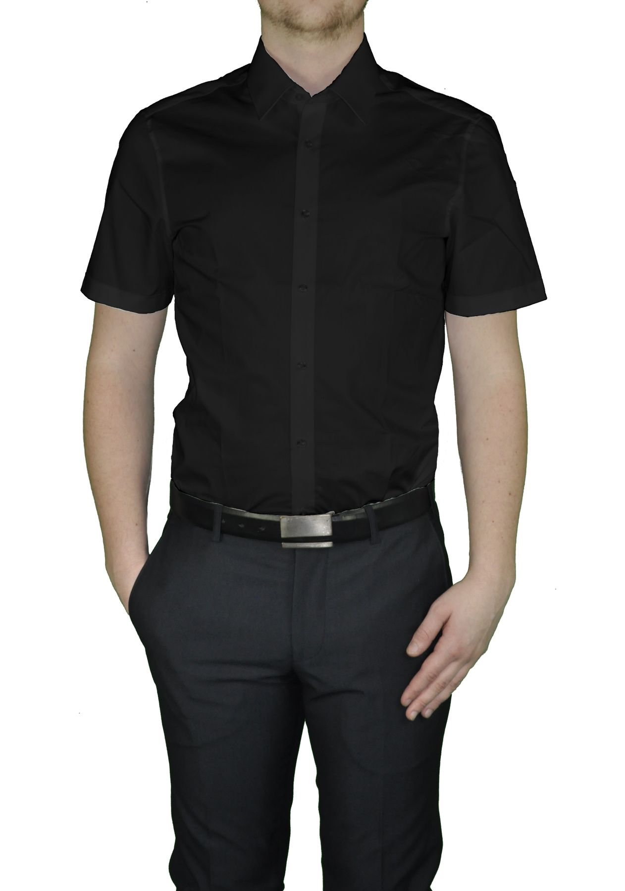 Bügelfreies Herren Slim fit kurzarm Hemd in verschiedenen Farben Marke Redmond (400930) – Bild 2