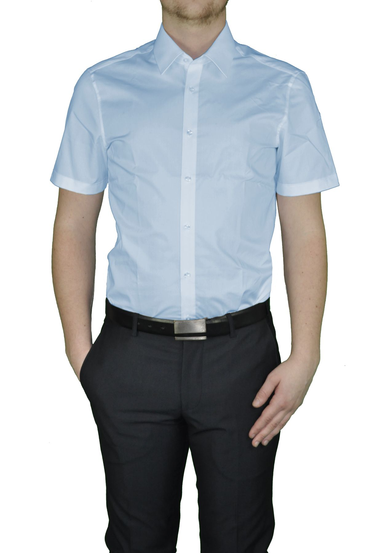 Bügelfreies Herren Slim fit kurzarm Hemd in verschiedenen Farben Marke Redmond (400930) – Bild 5