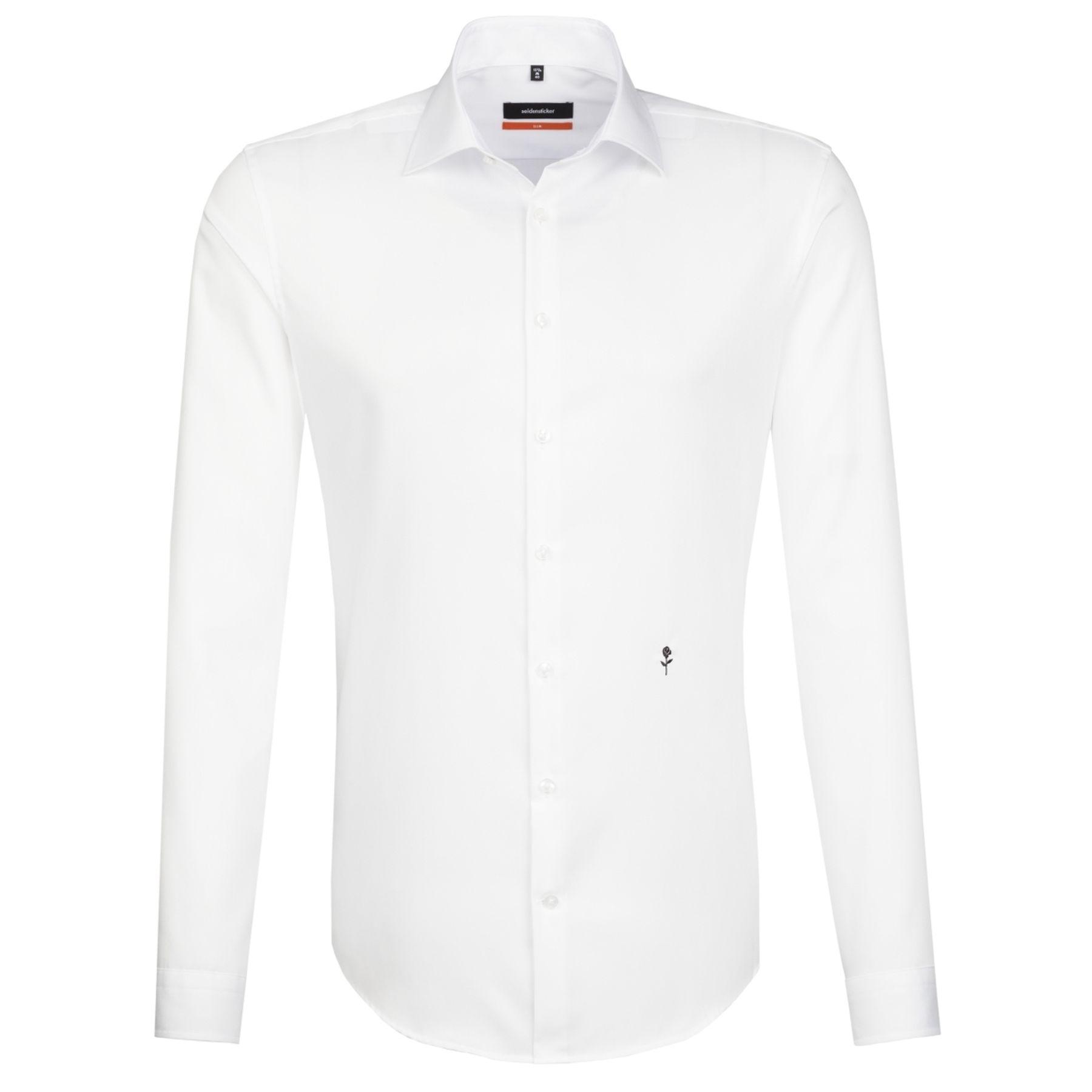 Seidensticker - Herren Hemd, Bügelfrei, Slim, Schwarze Rose mit Kent Kragen in Weiß und Blau  (01.676550) – Bild 1