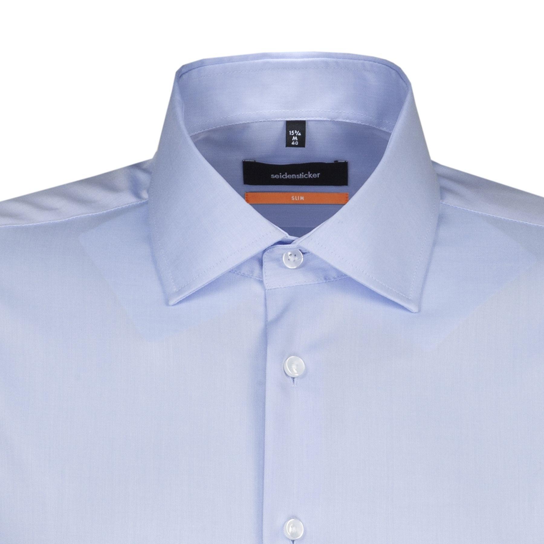 Seidensticker - Herren Hemd, Bügelfrei, Slim, Schwarze Rose mit Kent Kragen in Weiß und Blau  (01.676550) – Bild 8