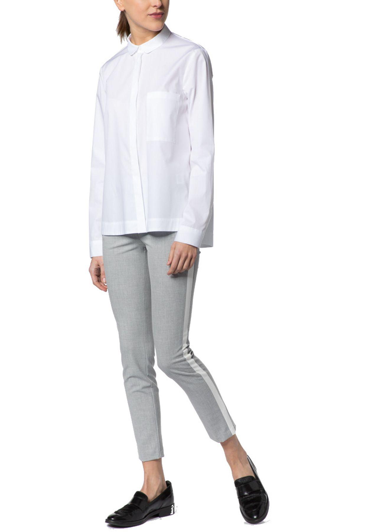 Eterna - Slim Fit - Damen Langarm Bluse in Weiß, Bügelfrei (5003 DY01) – Bild 1