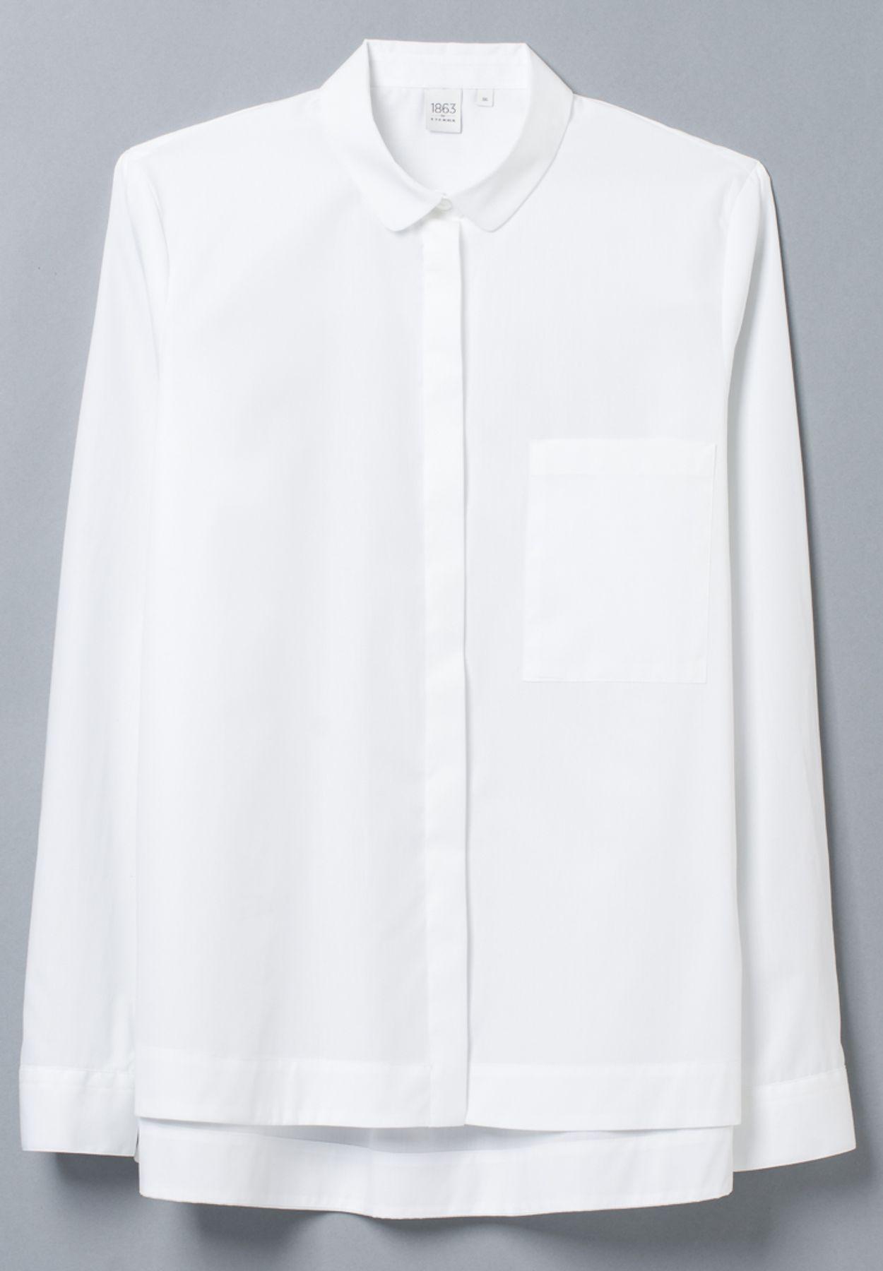 Eterna - Slim Fit - Damen Langarm Bluse in Weiß, Bügelfrei (5003 DY01) – Bild 5